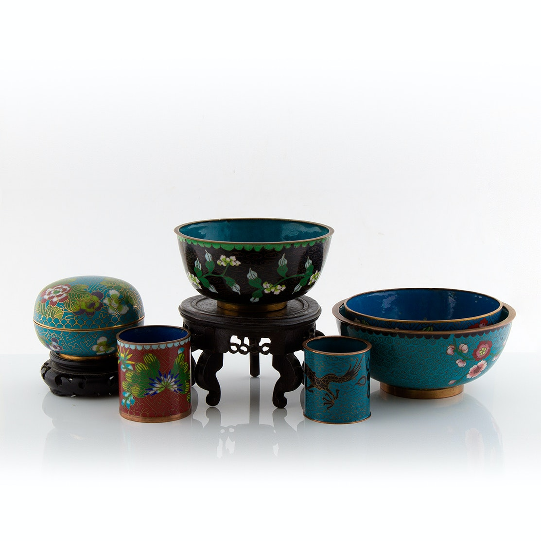 Vintage Chinese Cloisonné Bowls, Lidded Jar and Decor