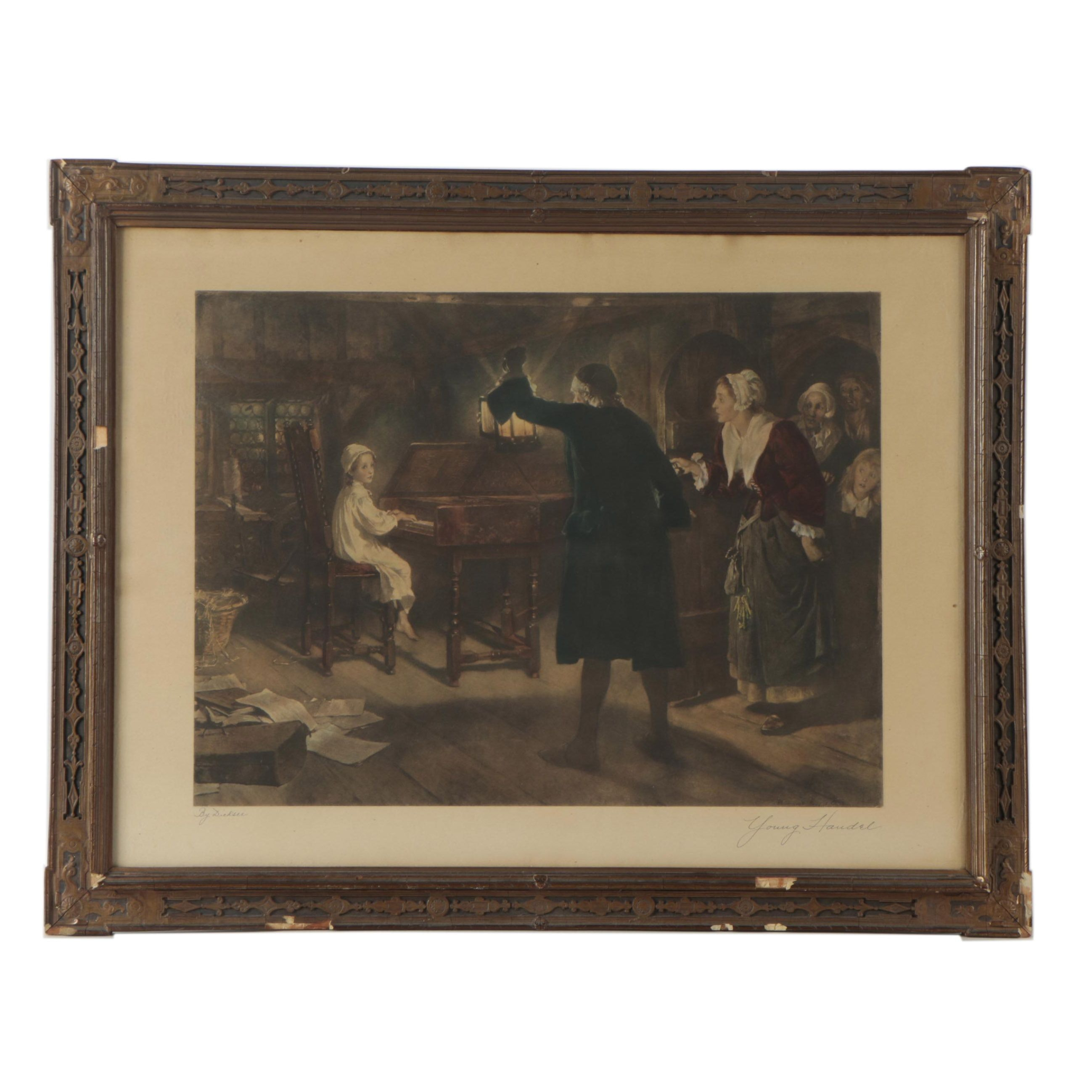 "Hand-Colored Lithograph After Margaret Dicksee's ""The Child Handel"""