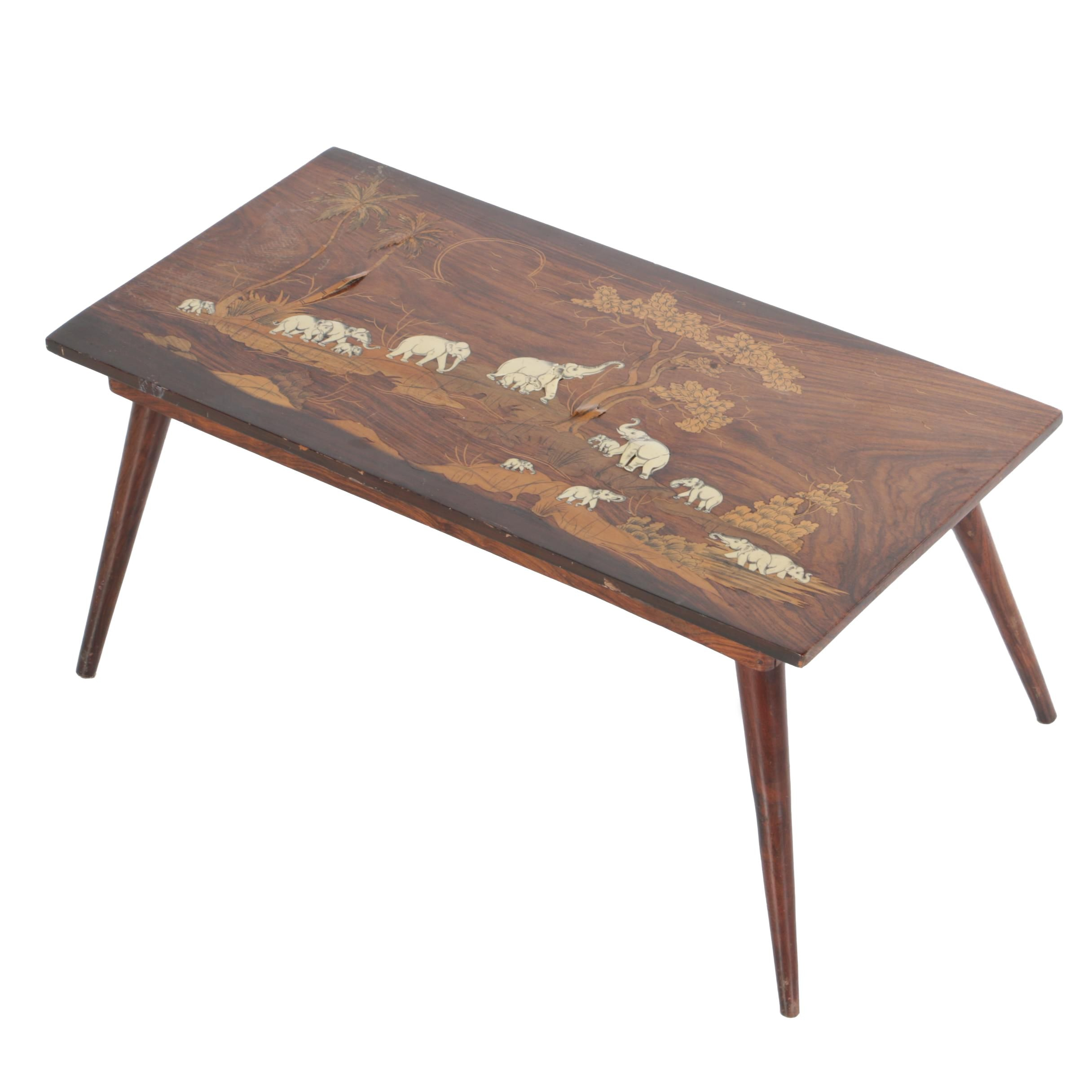 Mid-Century Inlaid Rosewood Coffee Table