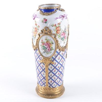 Antique Sevres Style Ormolu Mounted Porcelain Vase