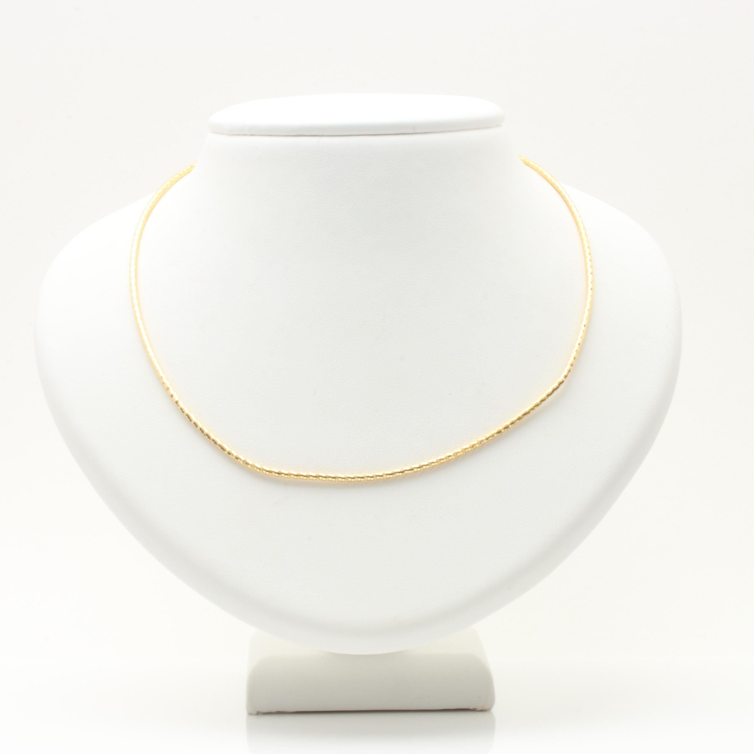 14K Yellow Gold Round Omega Chain Necklace