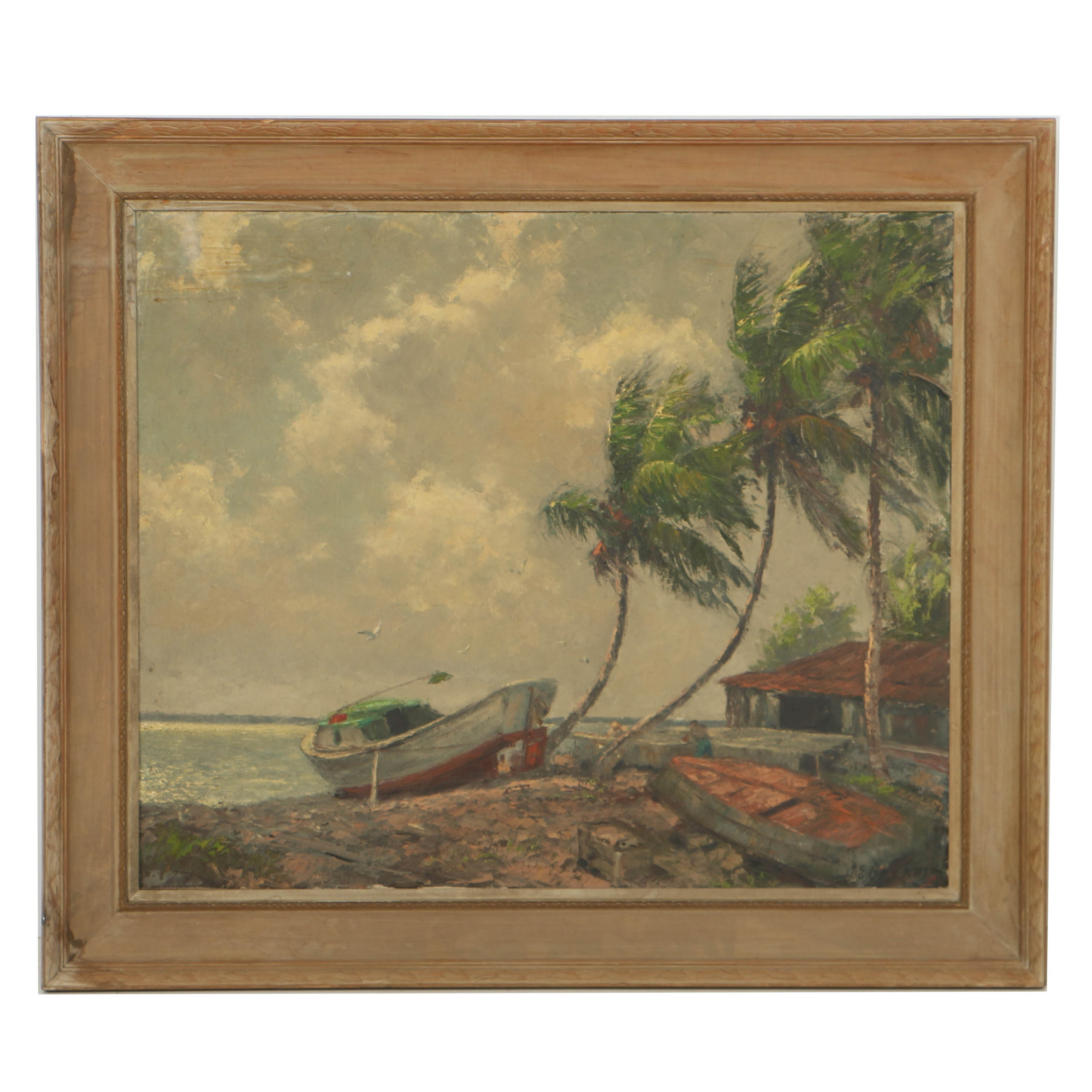 "Albert Ernest Backus Oil Painting on Canvas ""Morning Breeze - Indian River"""