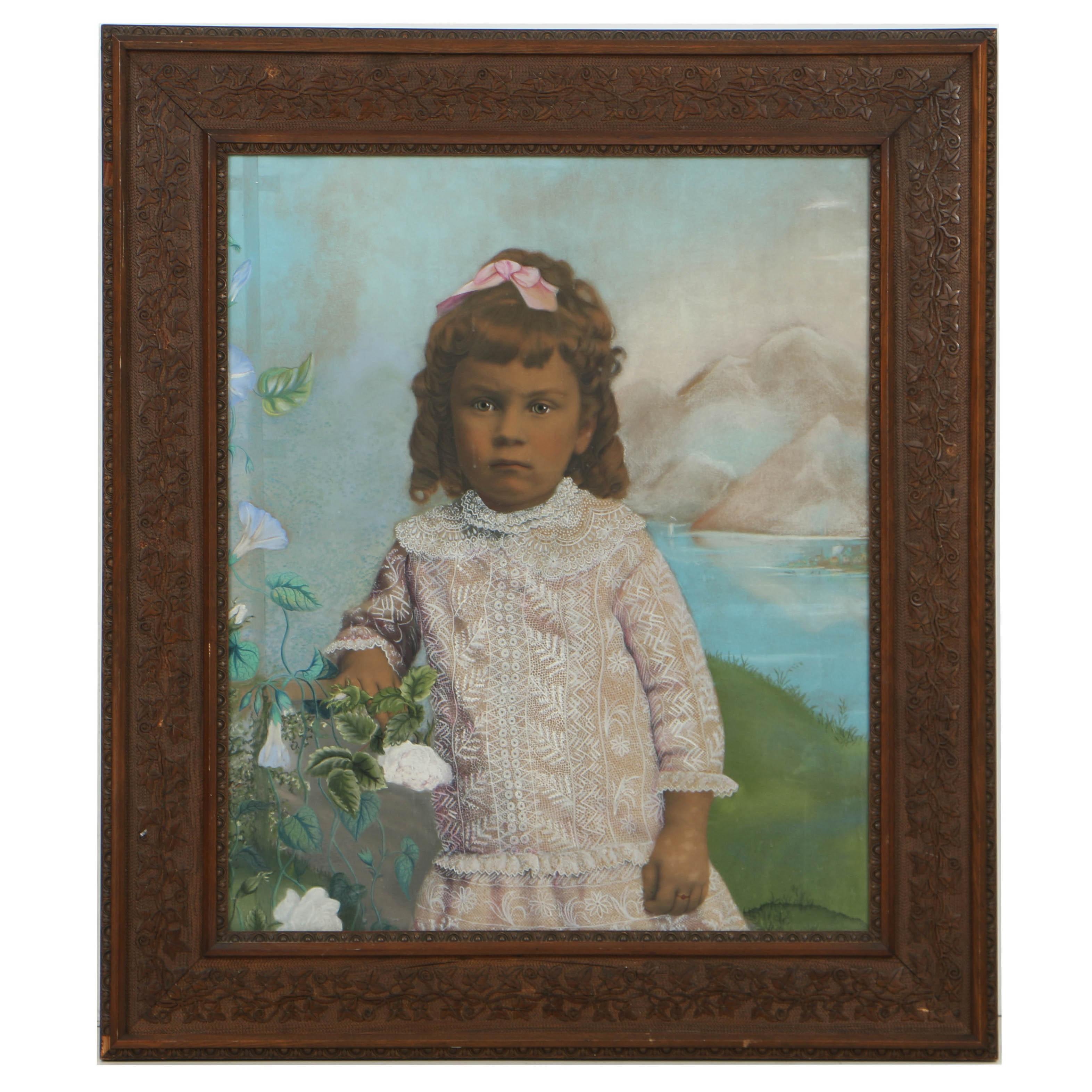 19th Century Folk Style Crayon Portrait of a Girl