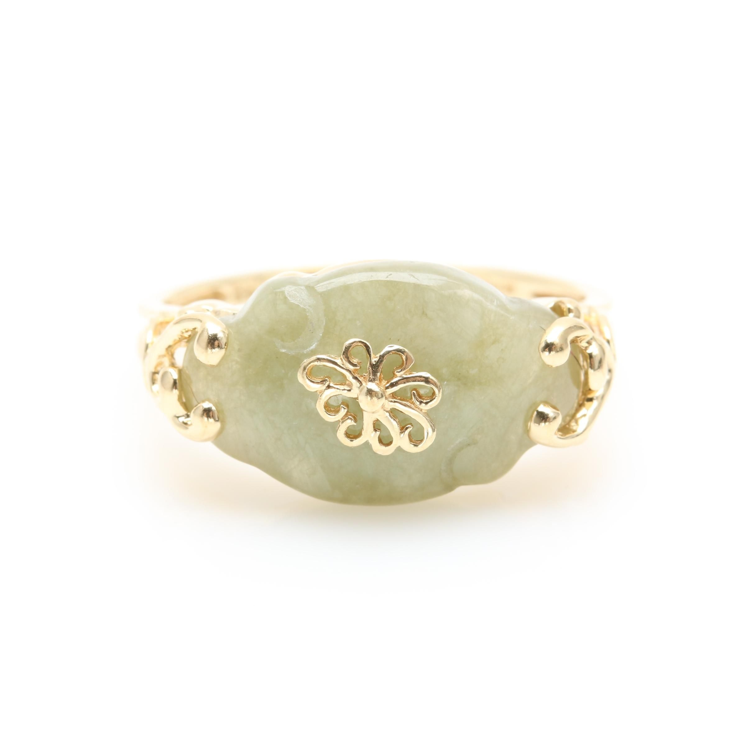 14K Yellow Gold Jadeite Ring