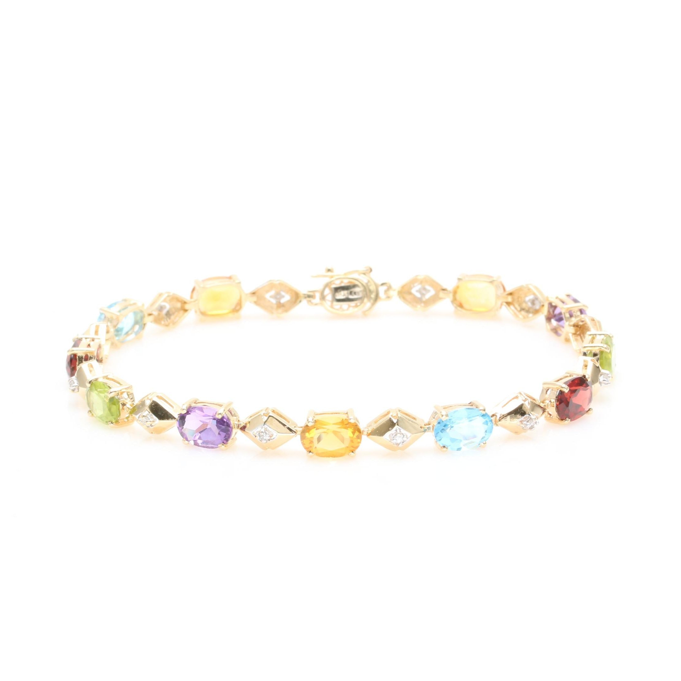 14K Yellow Gold Gemstone and Diamond Link Bracelet