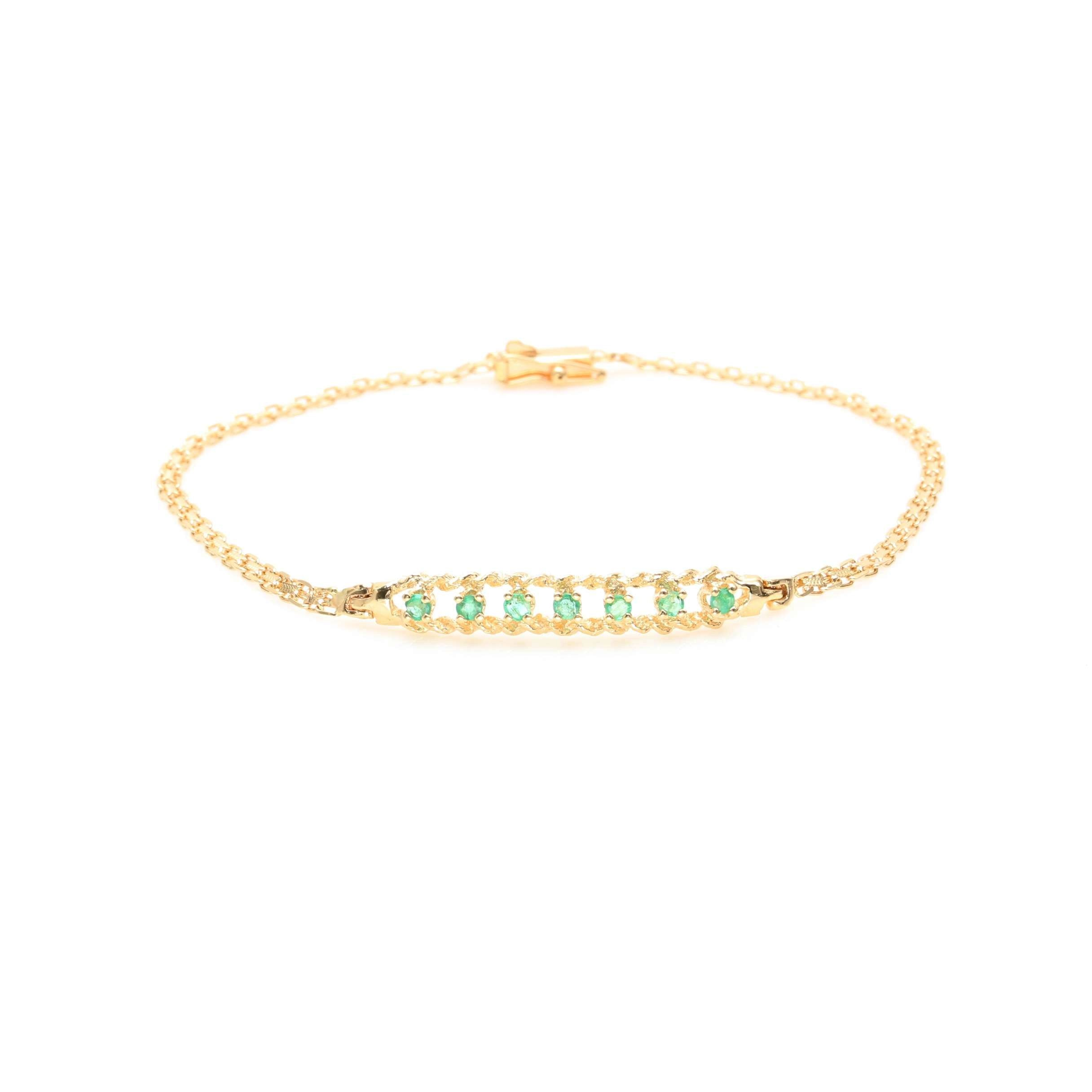 14K Yellow Gold Emerald Chain Link Bracelet