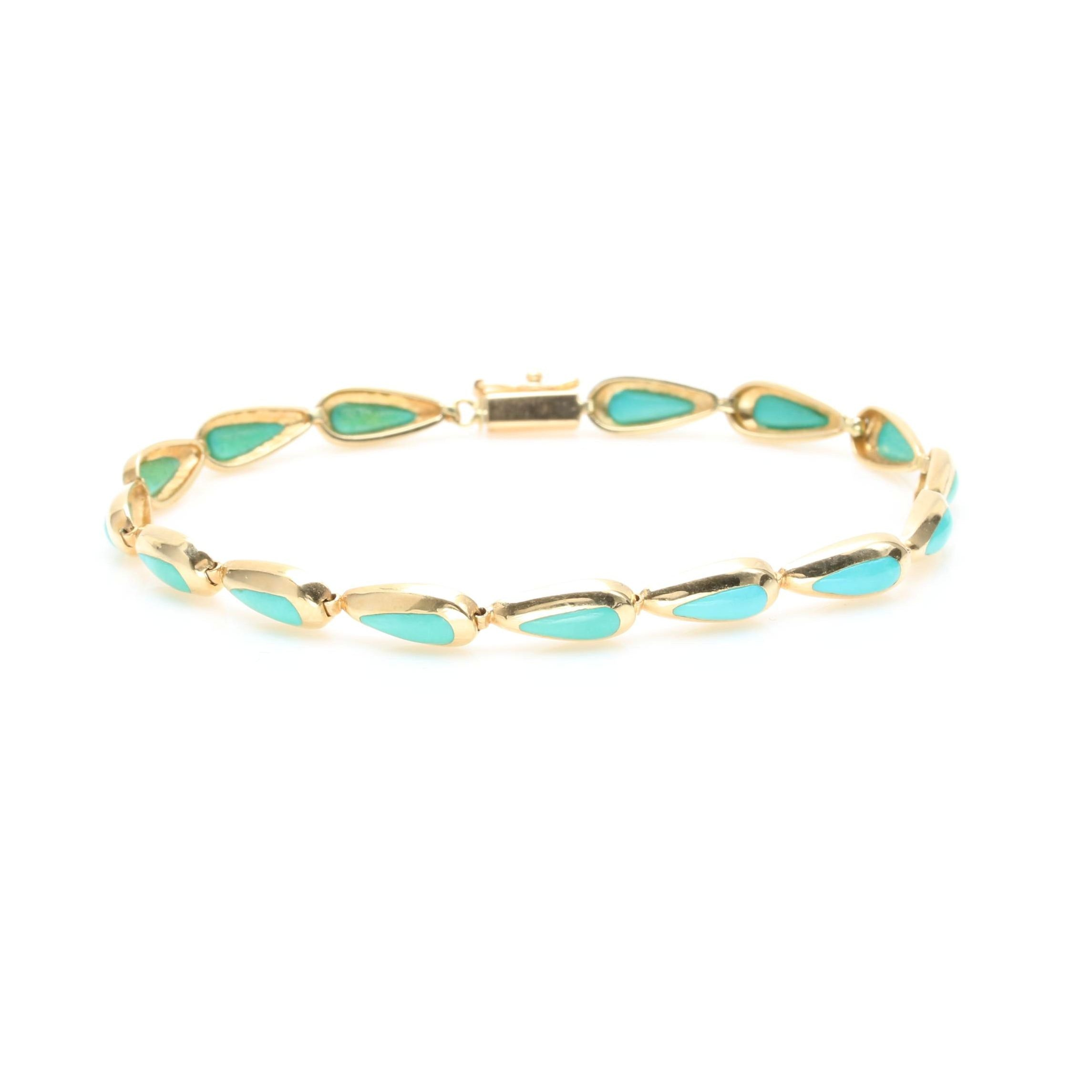 14K Yellow Gold Turquoise Link Bracelet