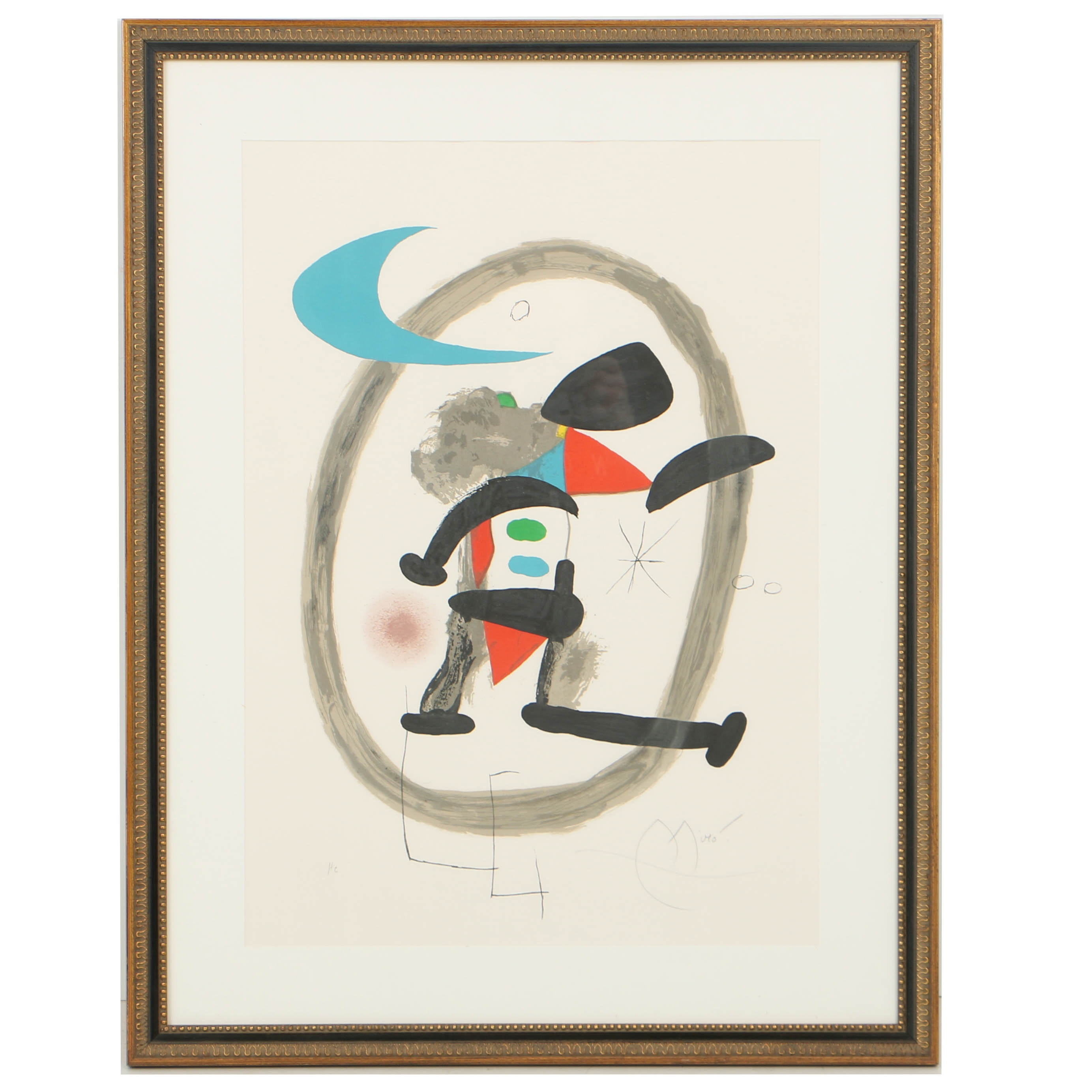 "Joan Miró Color Lithograph on Arches Paper ""Arlequin Circonscrit"""