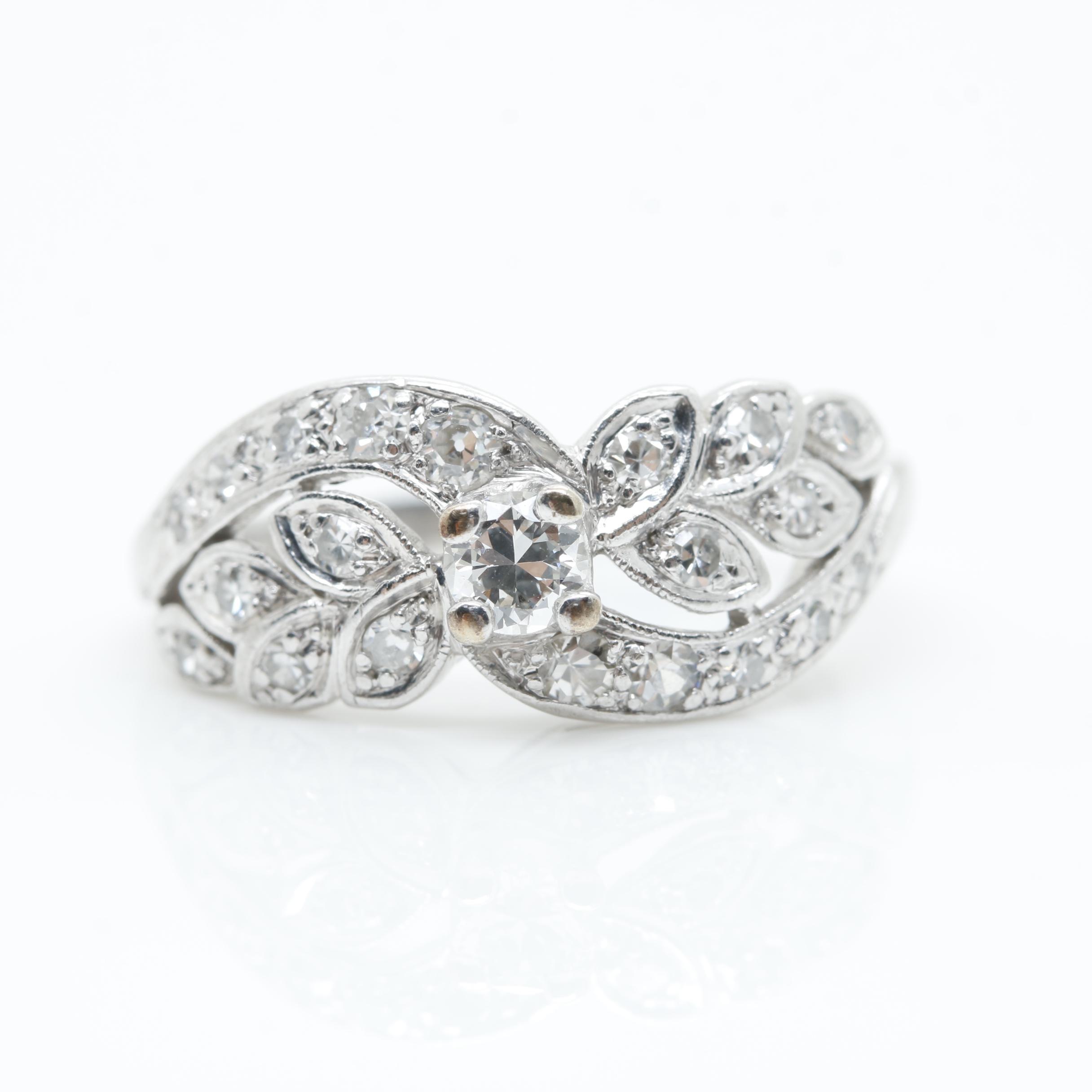 Platinum Diamond Foliate Ring