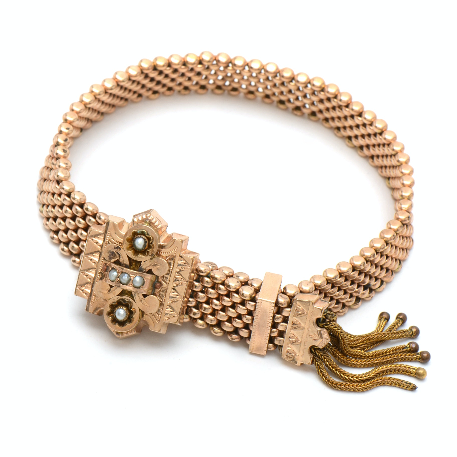 Victorian Gold Tone Slide Mesh Bracelet with Seed Pearls and Tassel End
