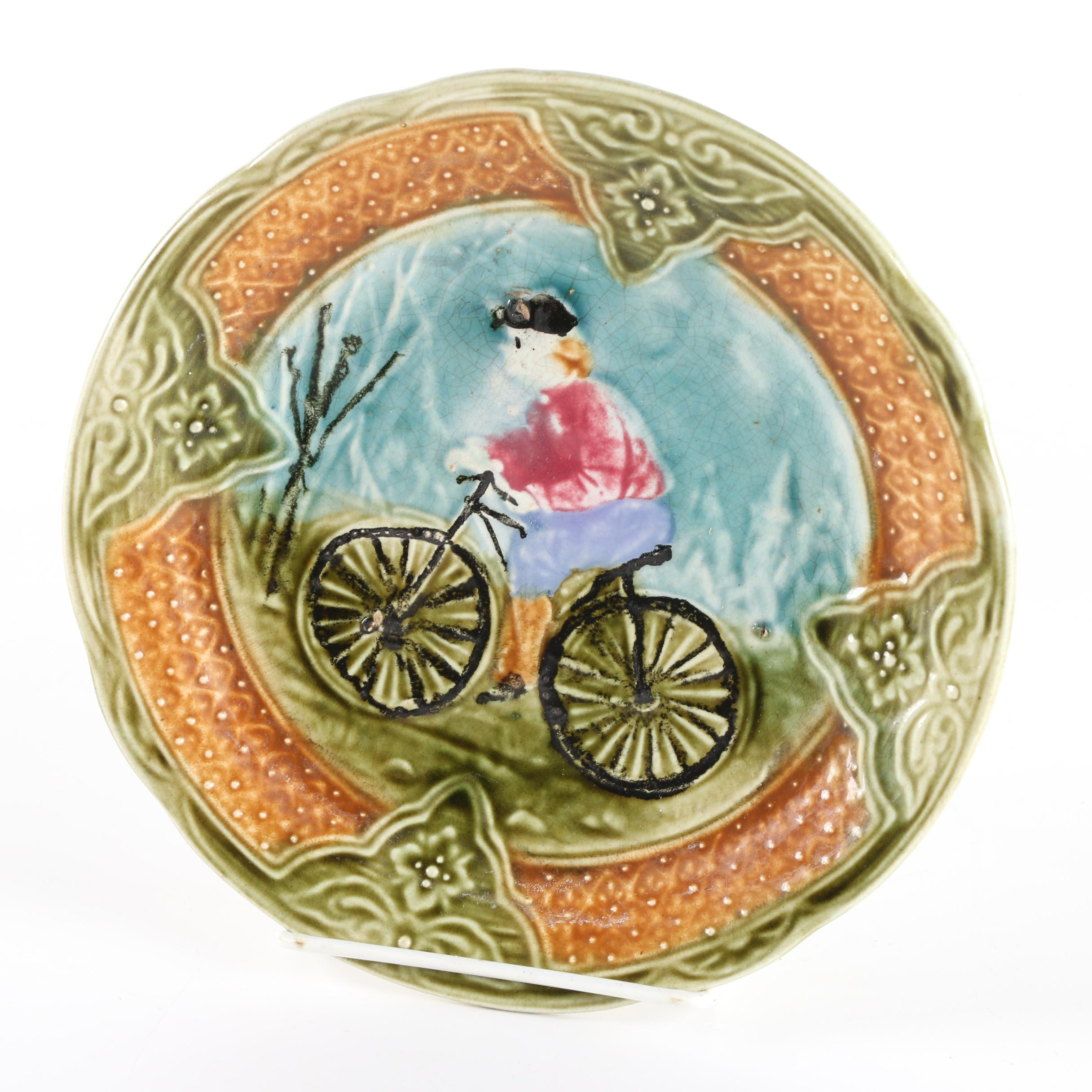 Antique French Majolica Plate with Bicyclist