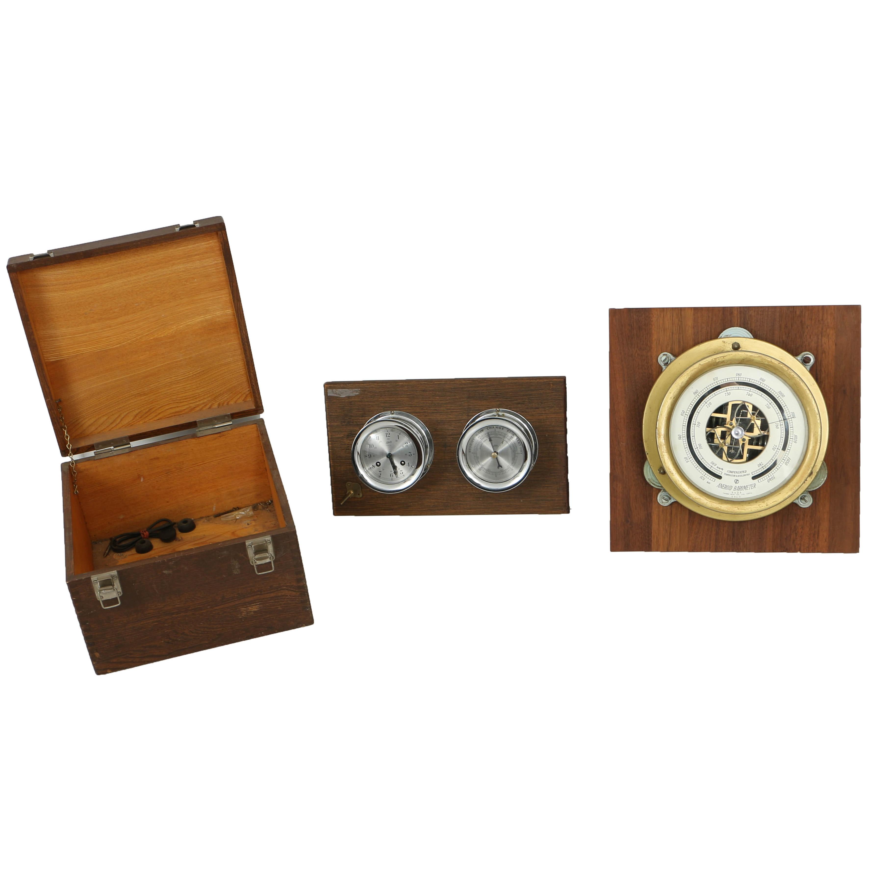 Vintage Yanagi Keiki Co. Barometer with Box Plus Schatz Barometer and Clock