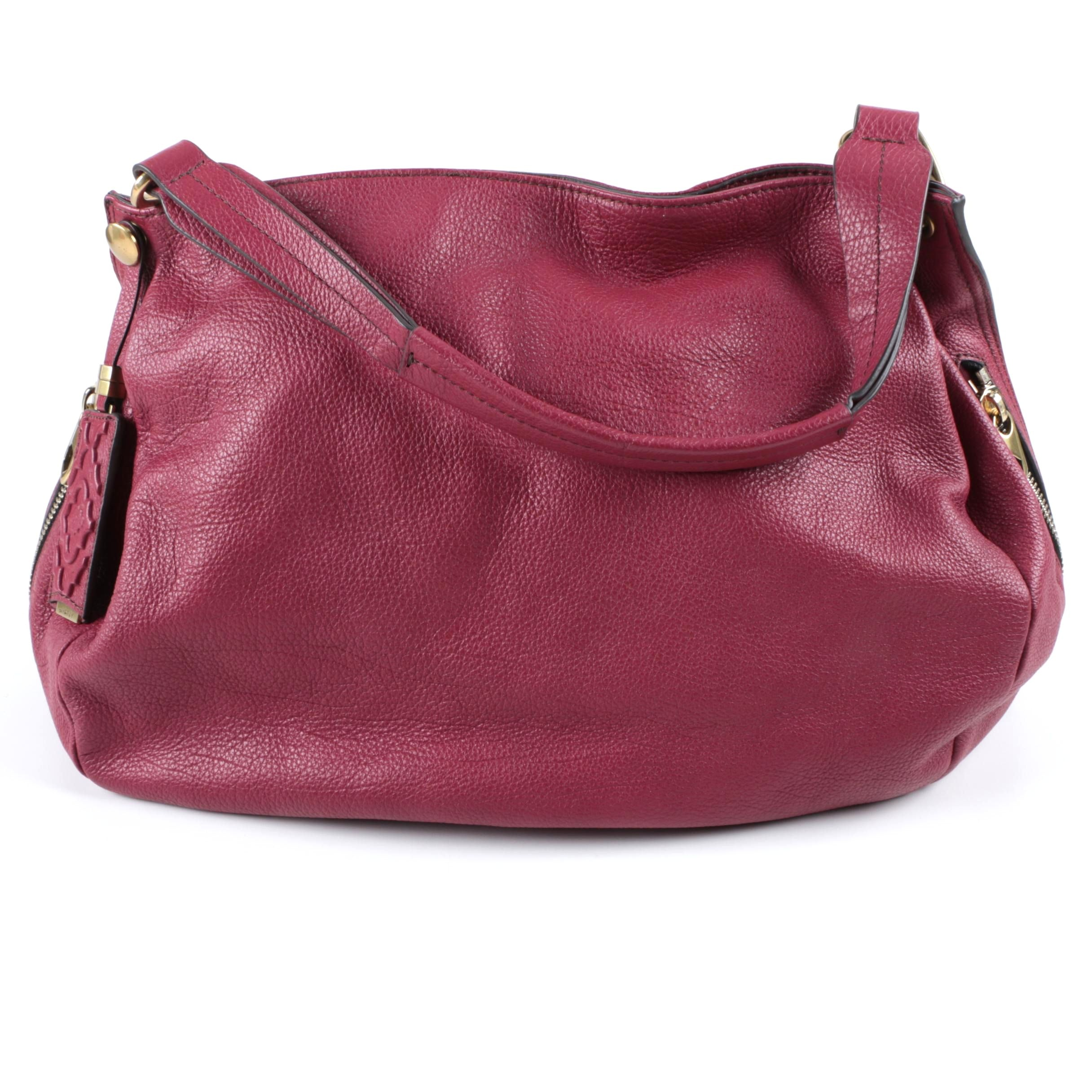 Oryany Red Leather Hobo Handbag