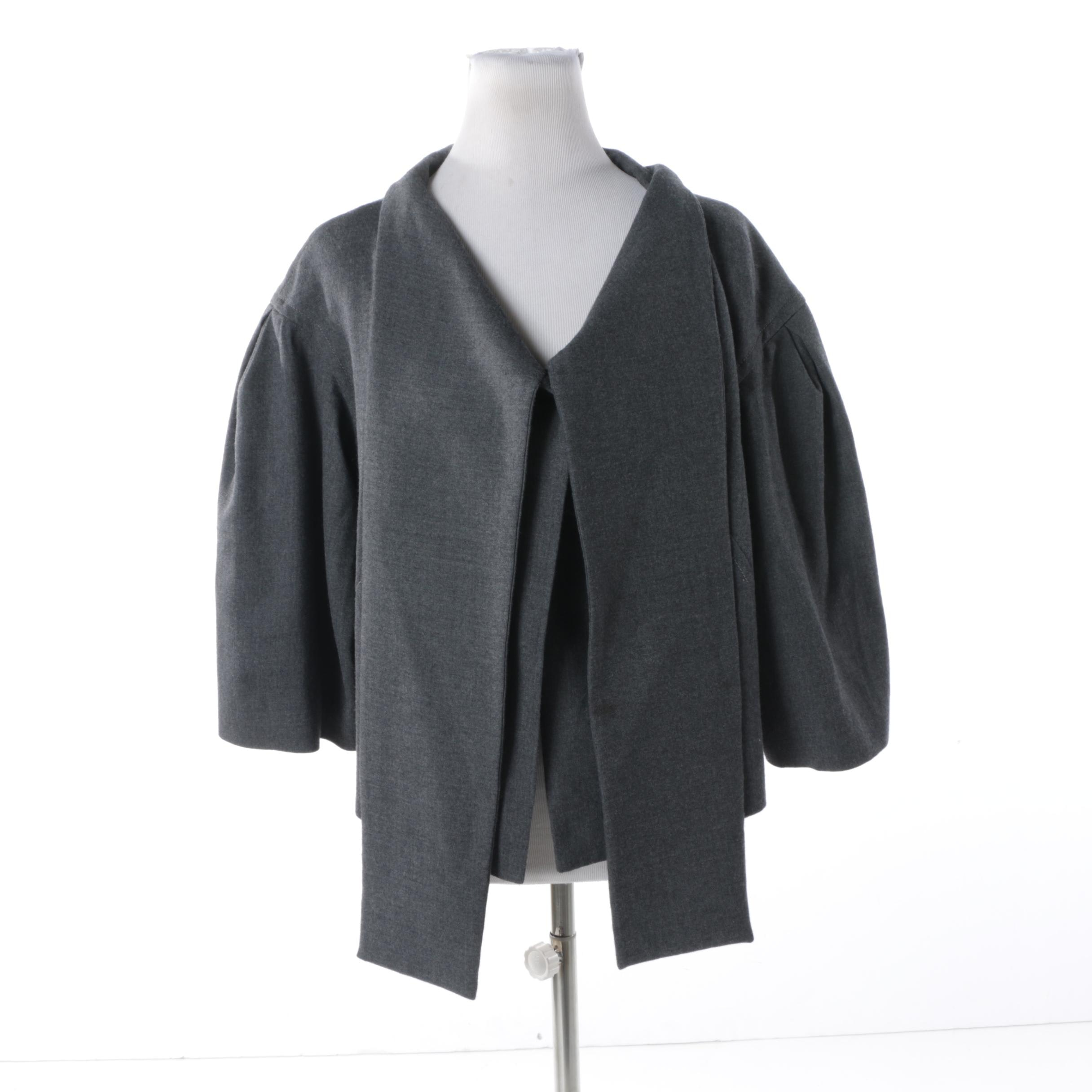 Women's Magaschoni Collection Gray Wool Jacket with Collar Scarf