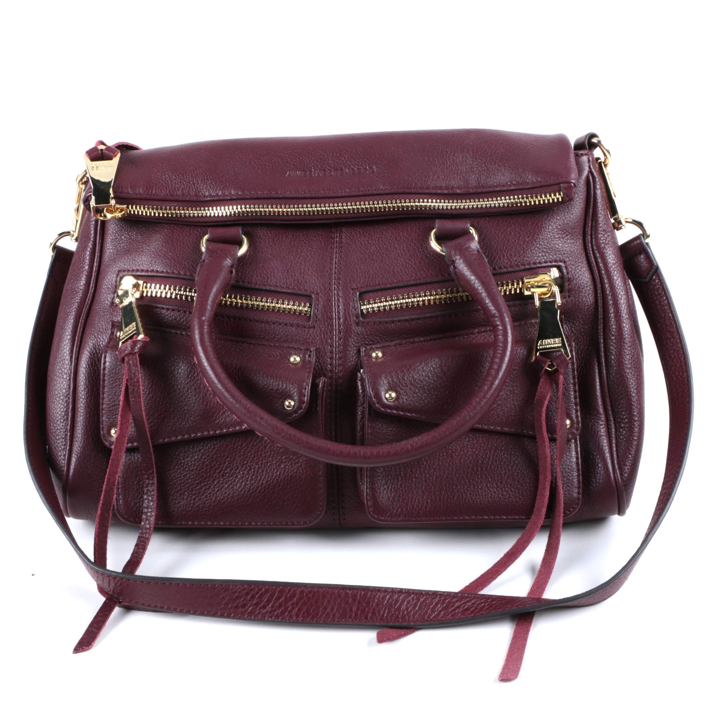 Aimee Kestenberg Collection Maroon Leather Double Zipper Handbag