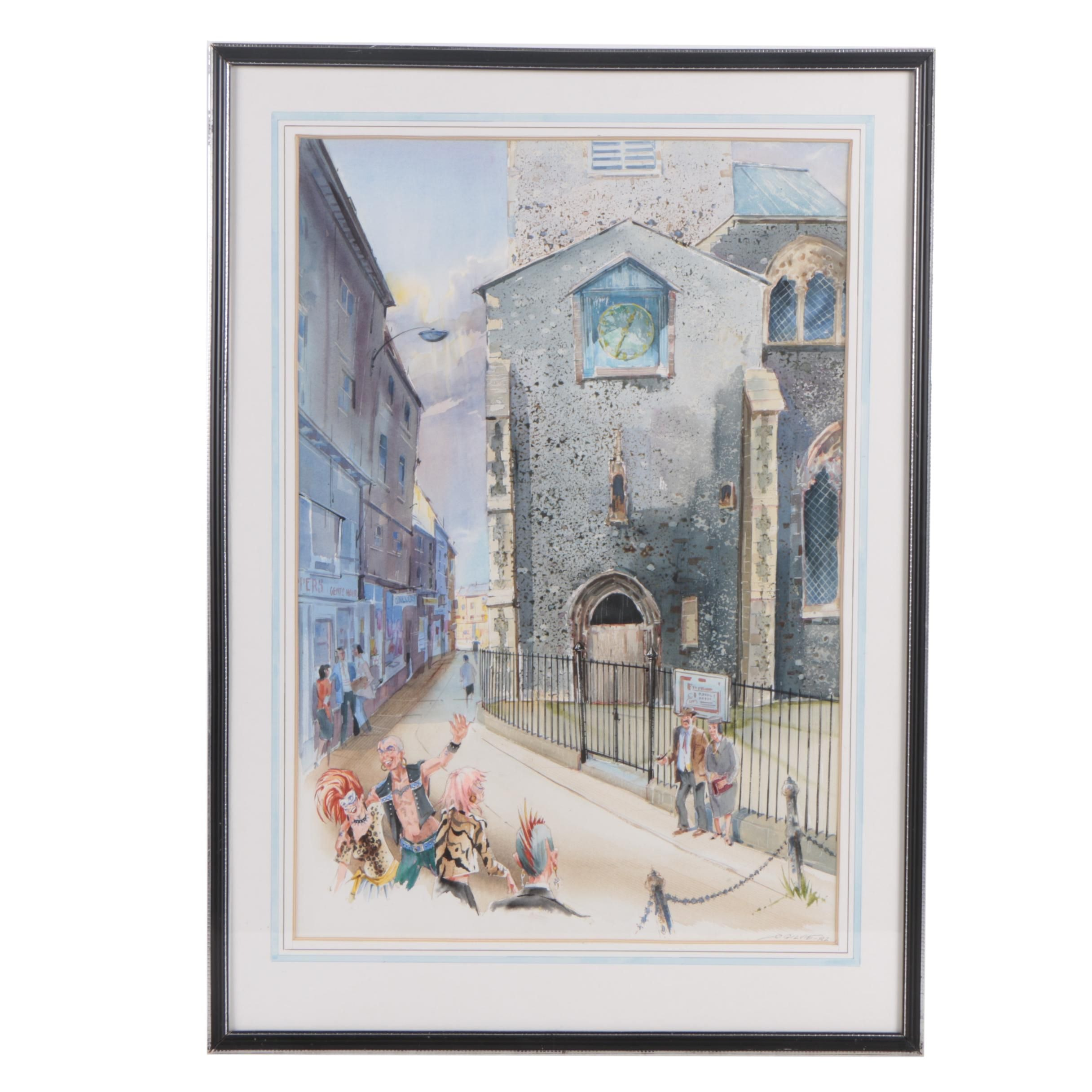 """James R. Ogilvie Gouache and Watercolor Painting """"St. Gregory's Church, Norwich"""""""