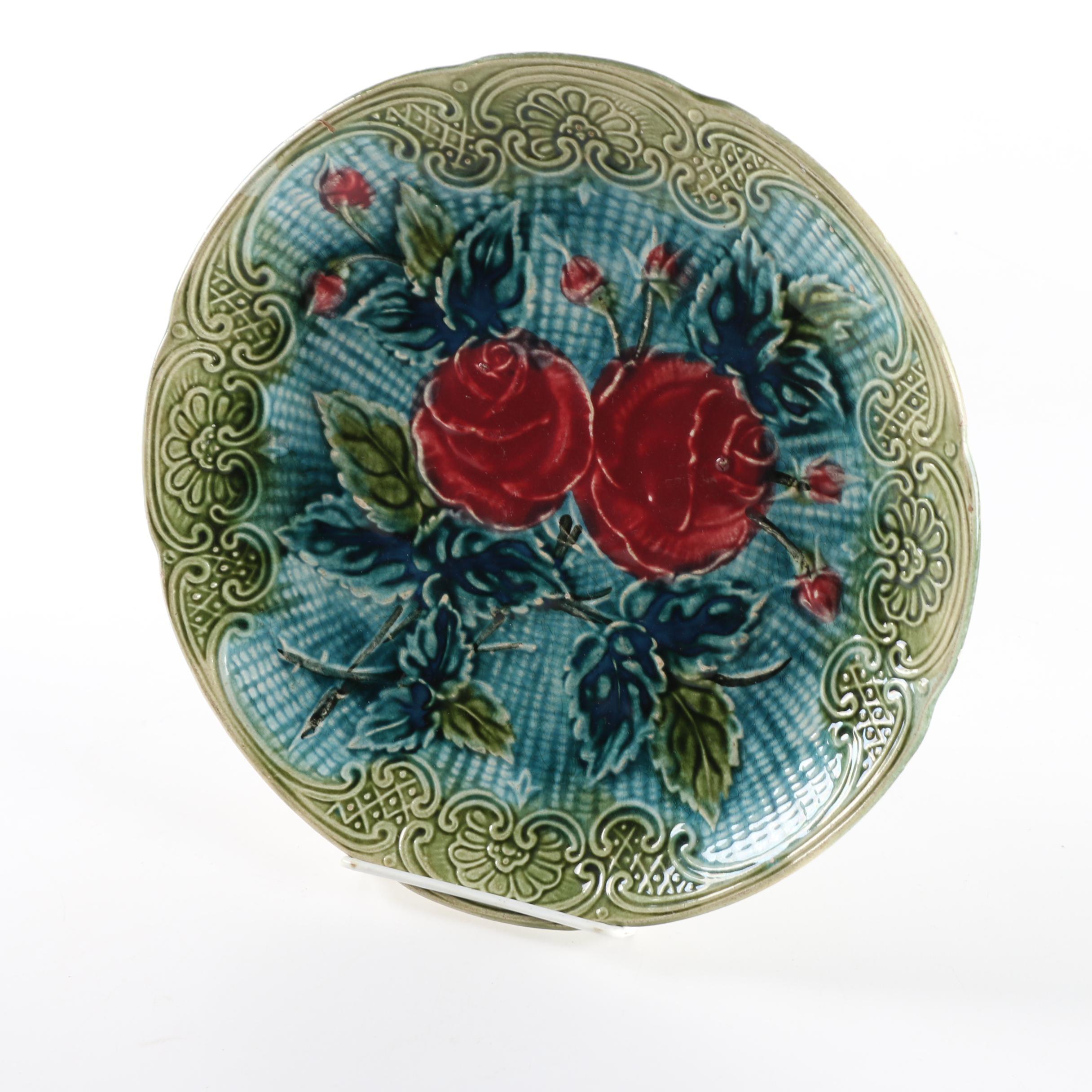 Antique Belgian Majolica Rose Pattern Plate