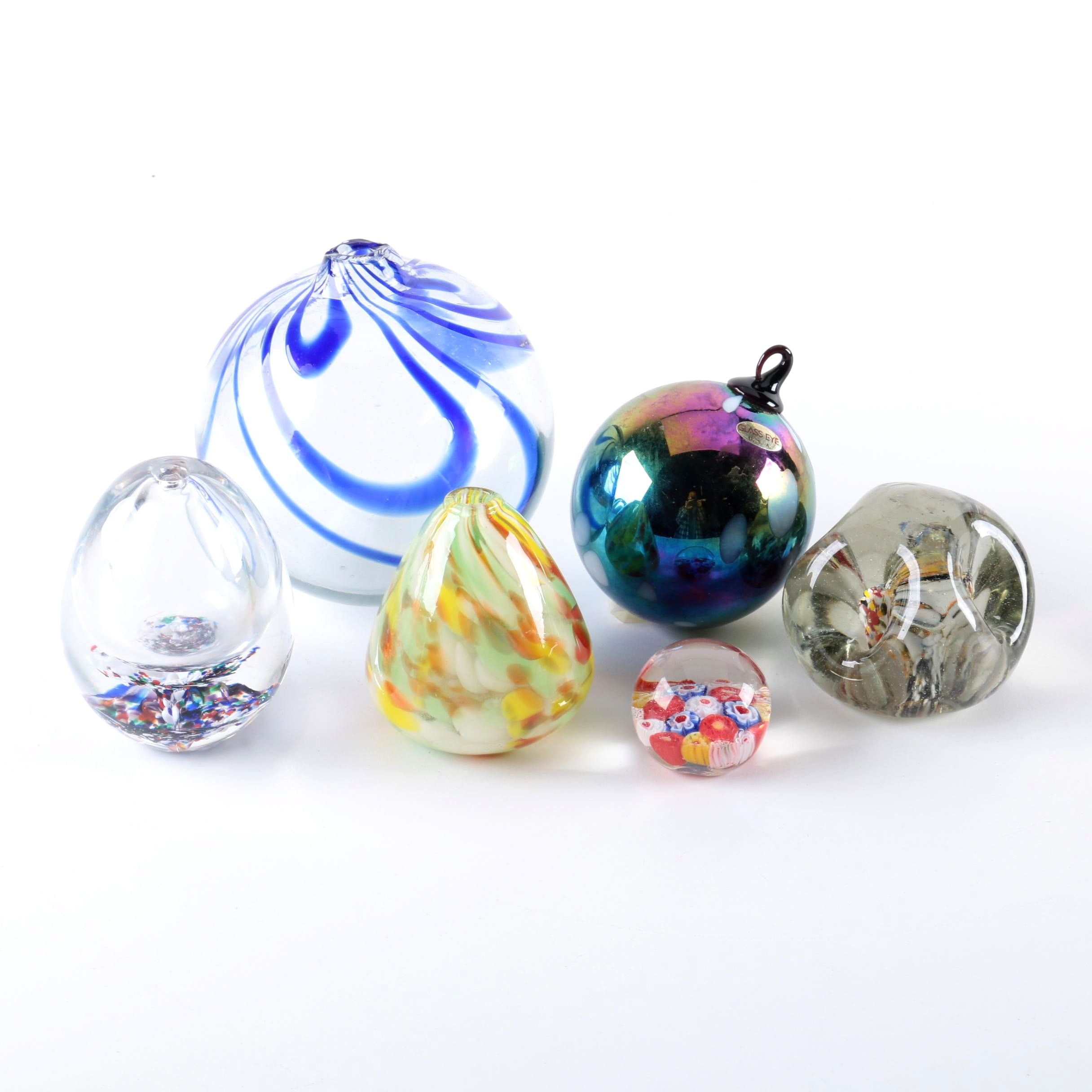 Art Glass Paperweights and Oil Lamps Including Glass Eye Studio