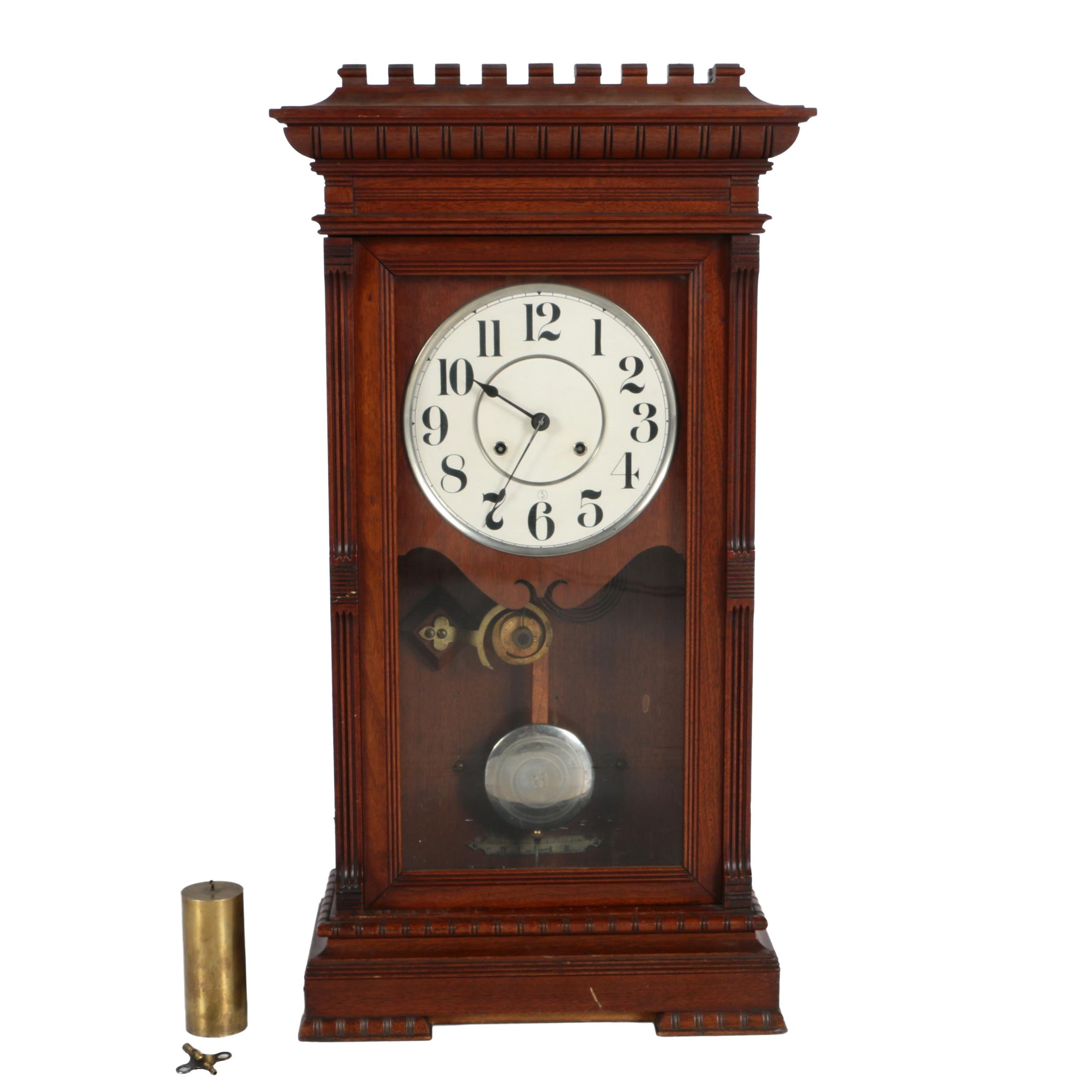 Victorian Gothic Wood Mantel Clock
