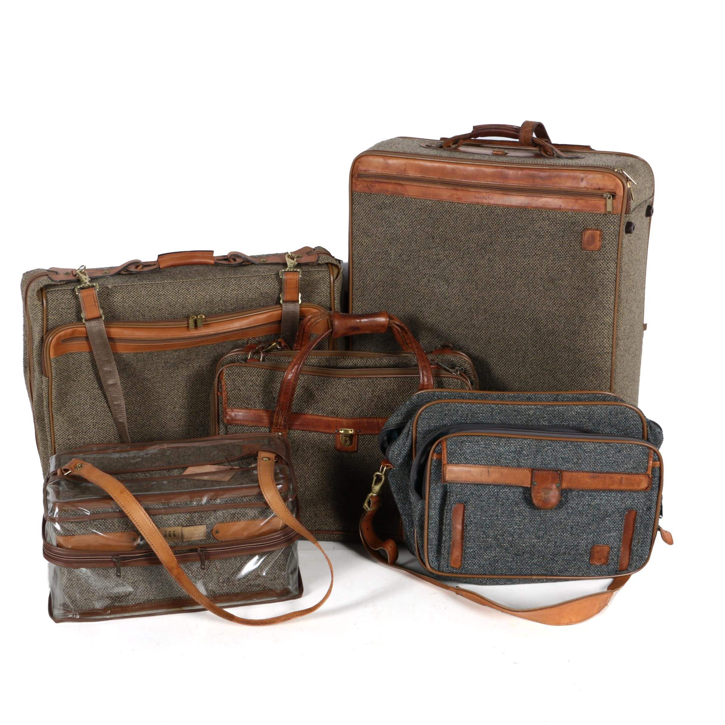 Hartmann Vintage Tweed and Leather-Trimmed Luggage
