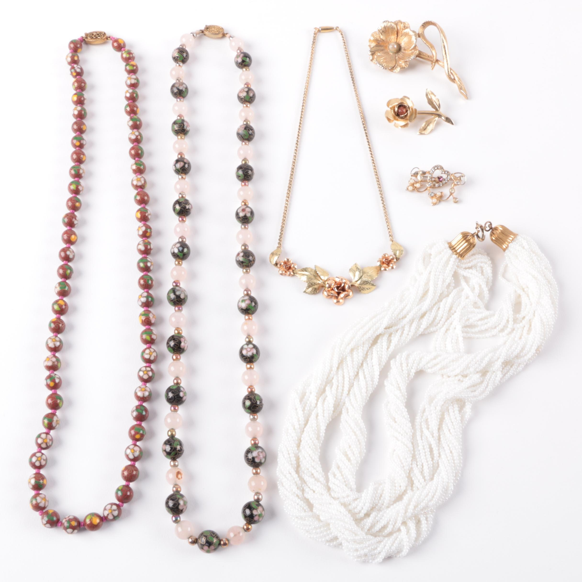 Assortment of Costume Necklaces and Brooches Featuring Krementz