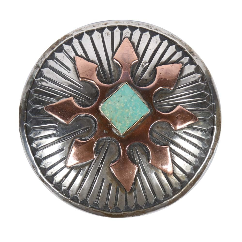 900 Silver, Turquoise, and Red Brass Belt Buckle