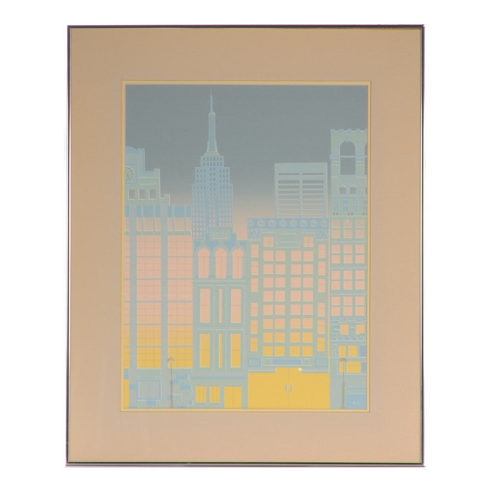 Serigraph Print on Paper of Abstract Cityscape