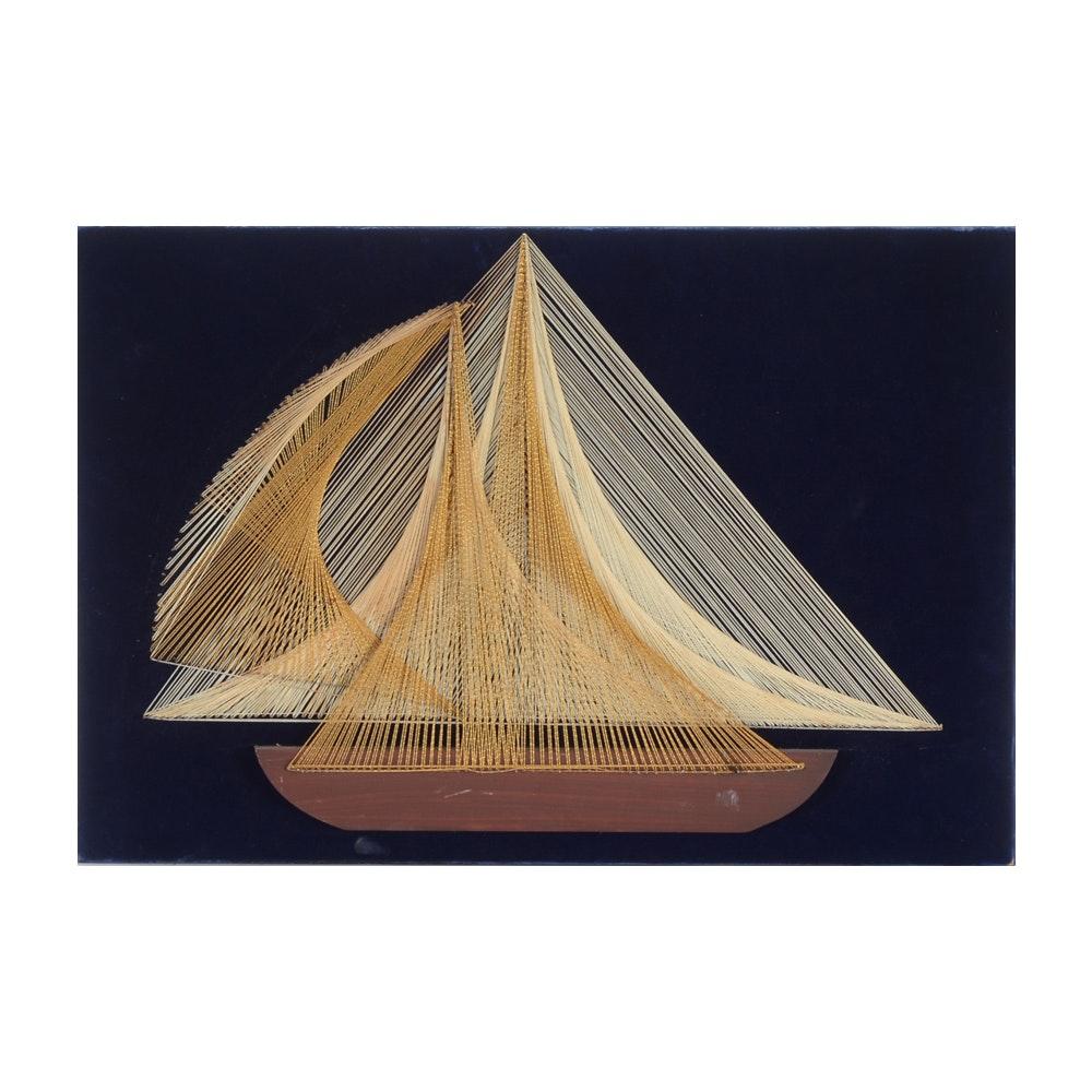 Mixed Media String Art Wall Hanging of a Ship