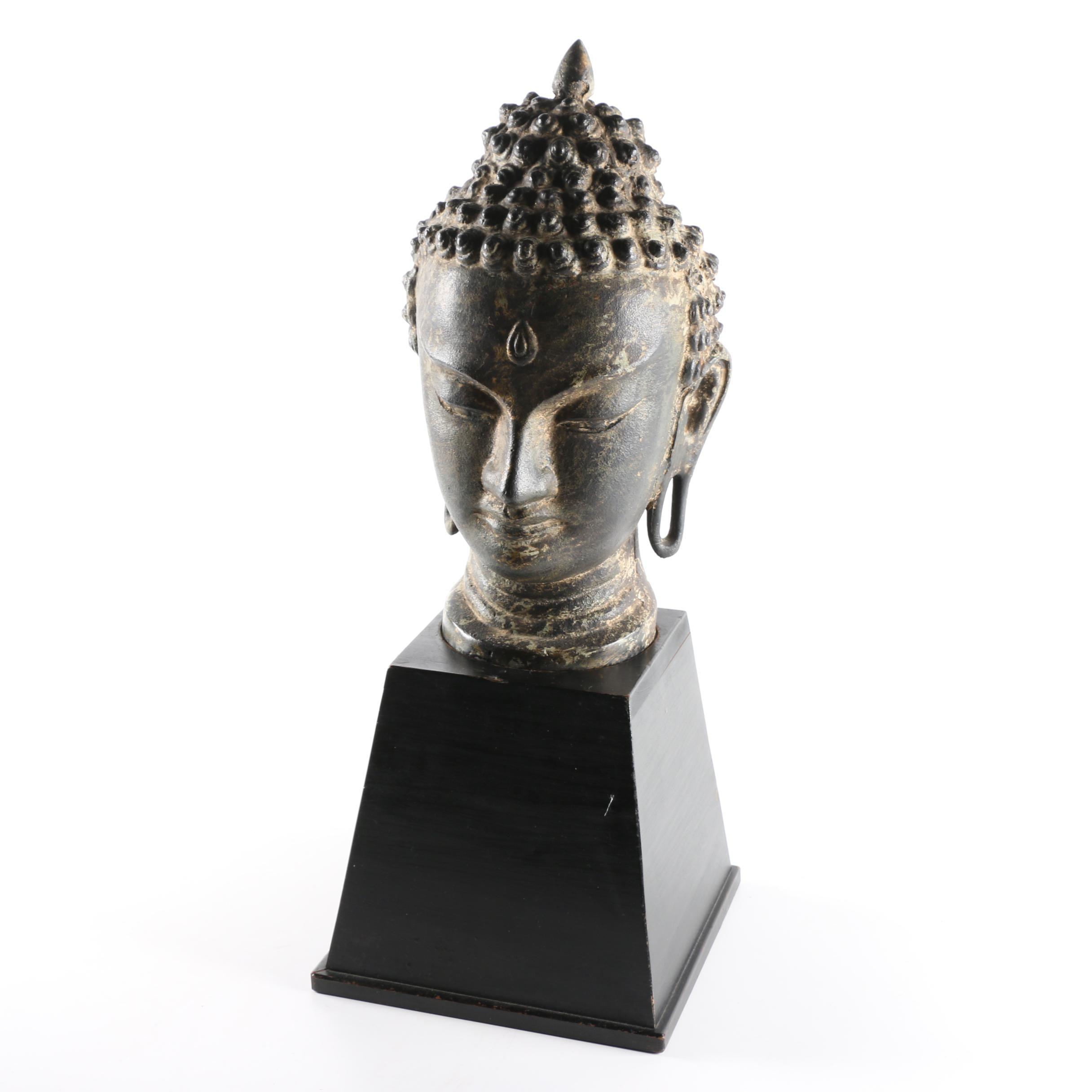 Cast Iron Buddhist Bust
