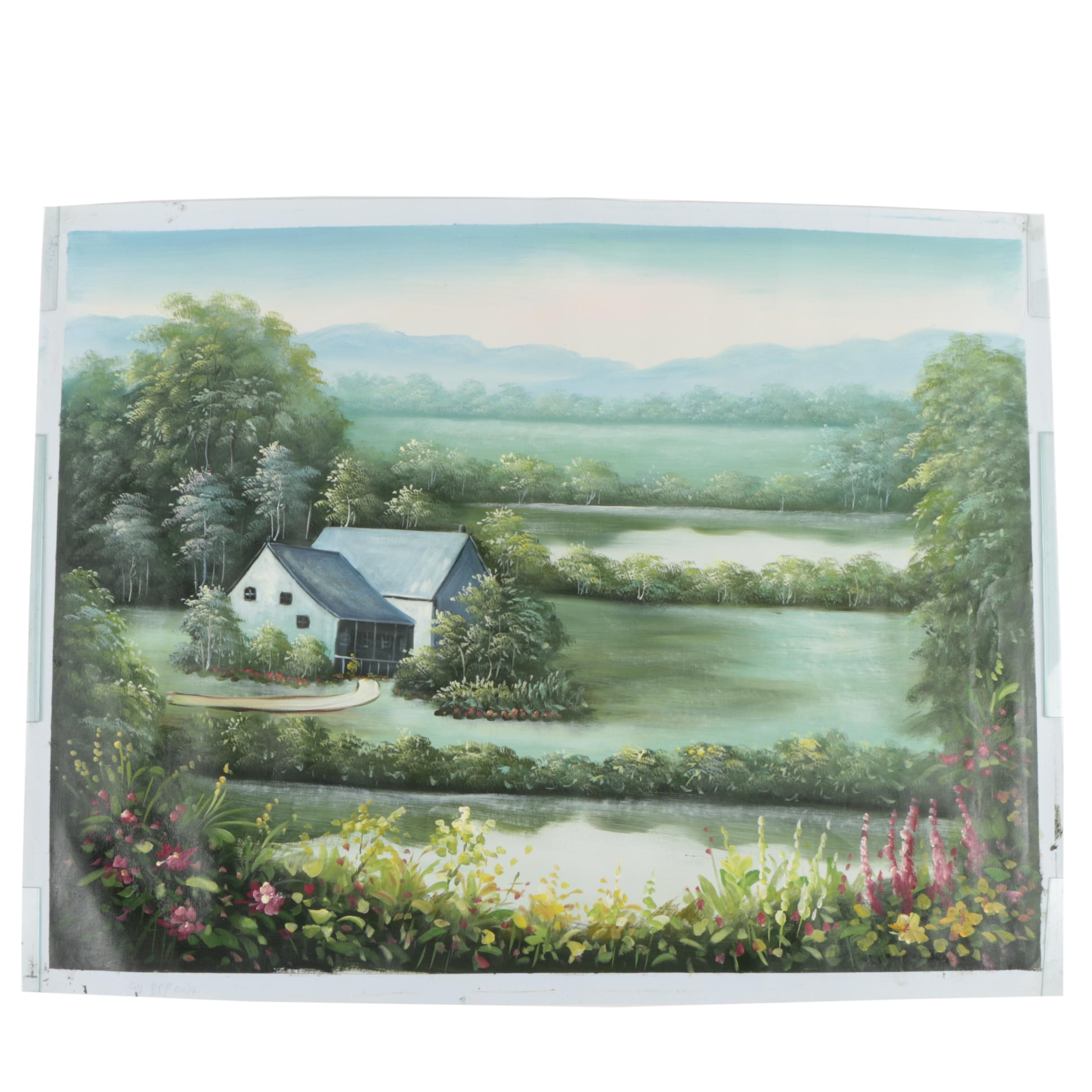 Oil on Canvas Landscape Painting of a House by Water