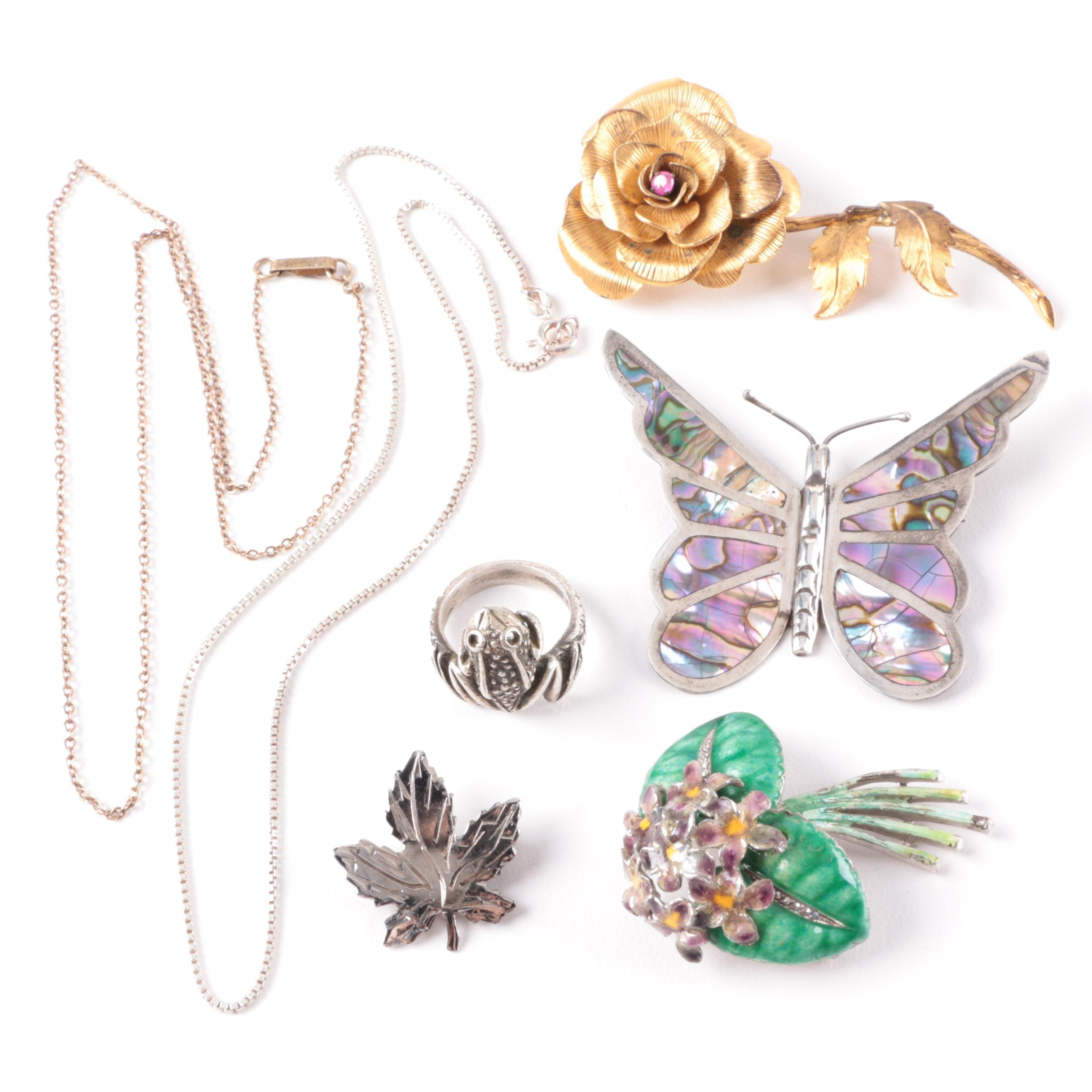 Selection of Sterling Silver Abalone, Marcasite and Enamel Jewelry