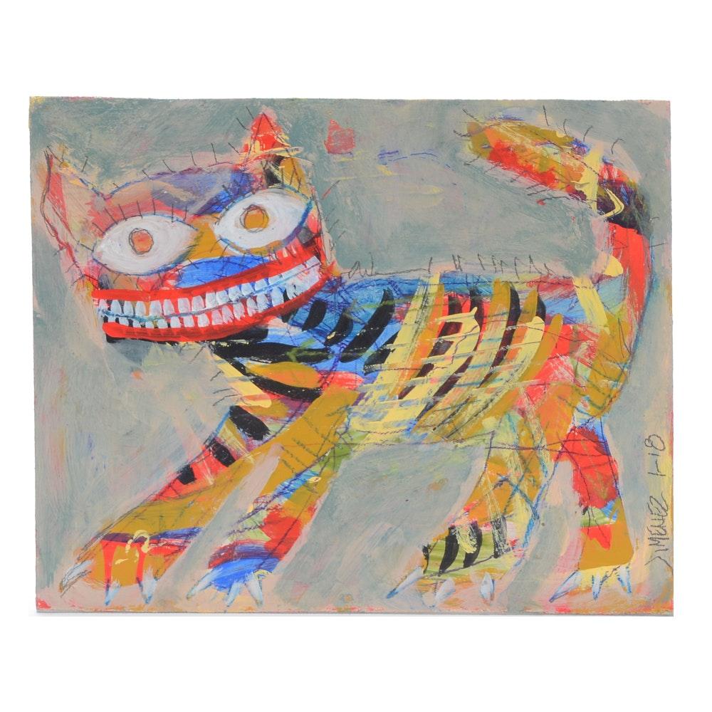 "Ray Jimenez Neo-Expressionist Outsider Mixed Media Painting ""Crazy Cat"""