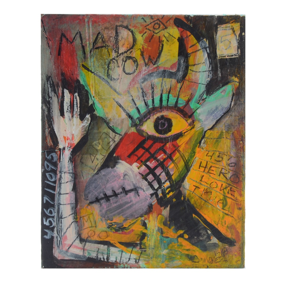 """Ray Jimenez Neo-Expressionist Outsider Mixed Media Painting """"Mad Cow"""""""