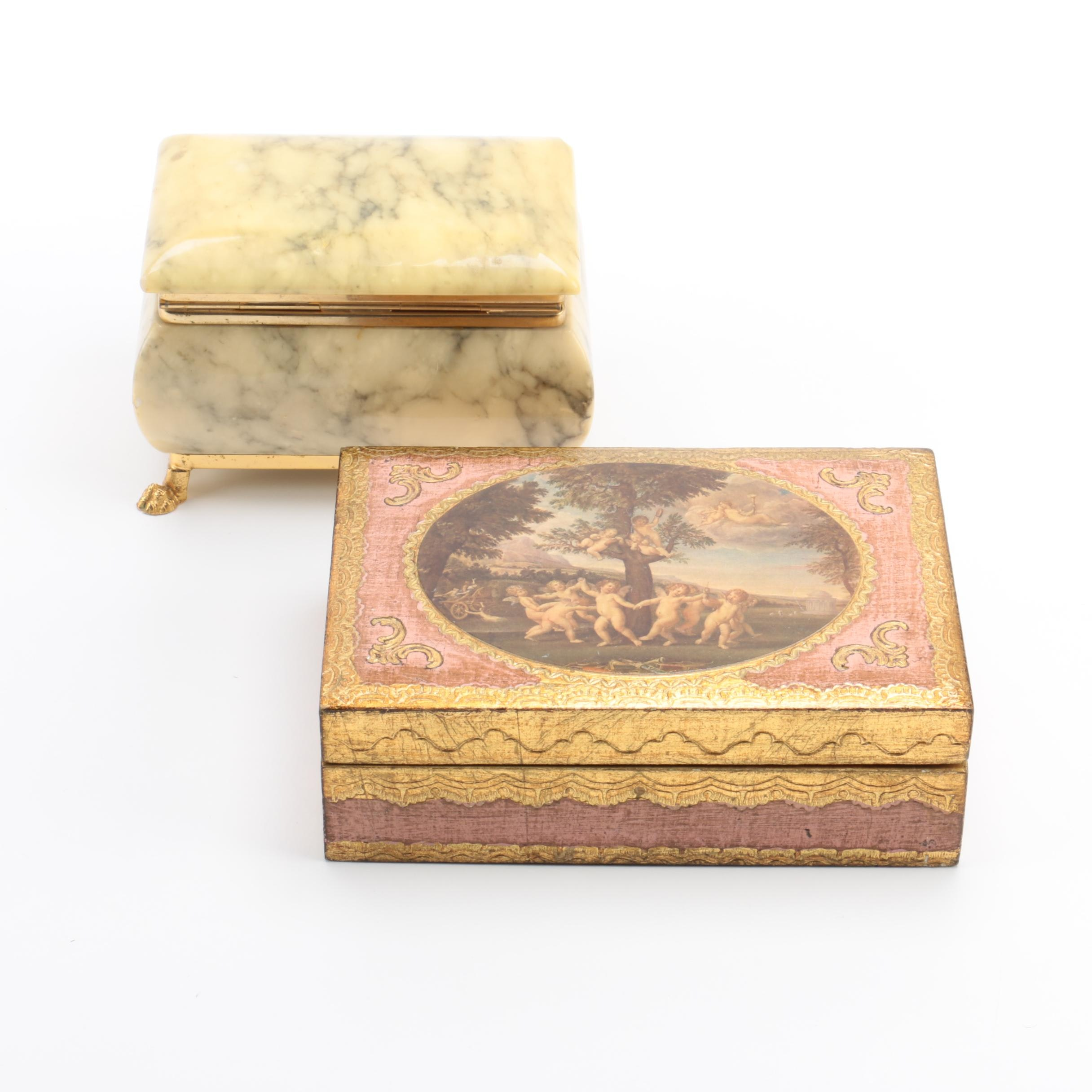 Alabaster and Wood Trinket Boxes