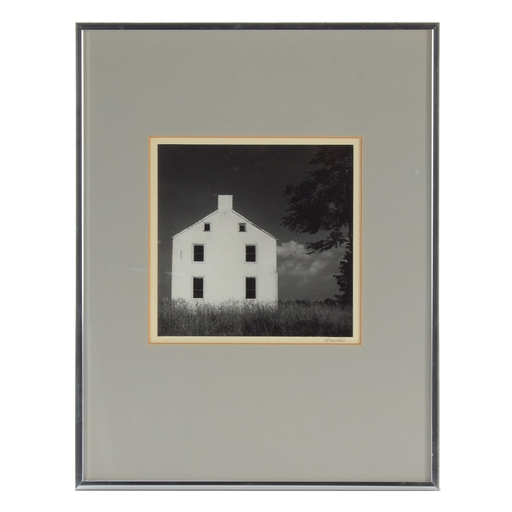 H. Marthis Black and White Photograph of White House in Meadow