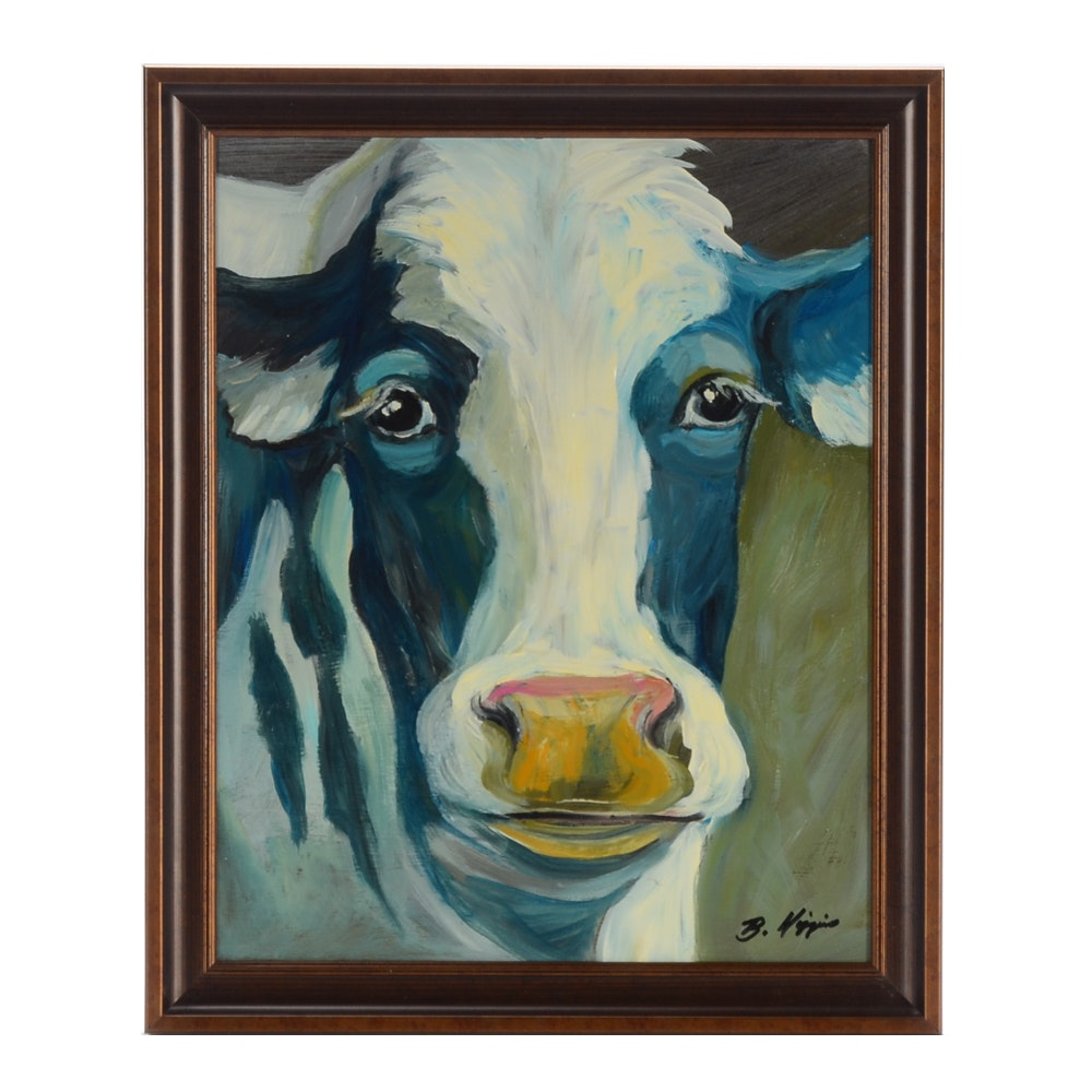 """B. Higgins Original Acrylic Painting on Board """"Lovely Cow"""""""