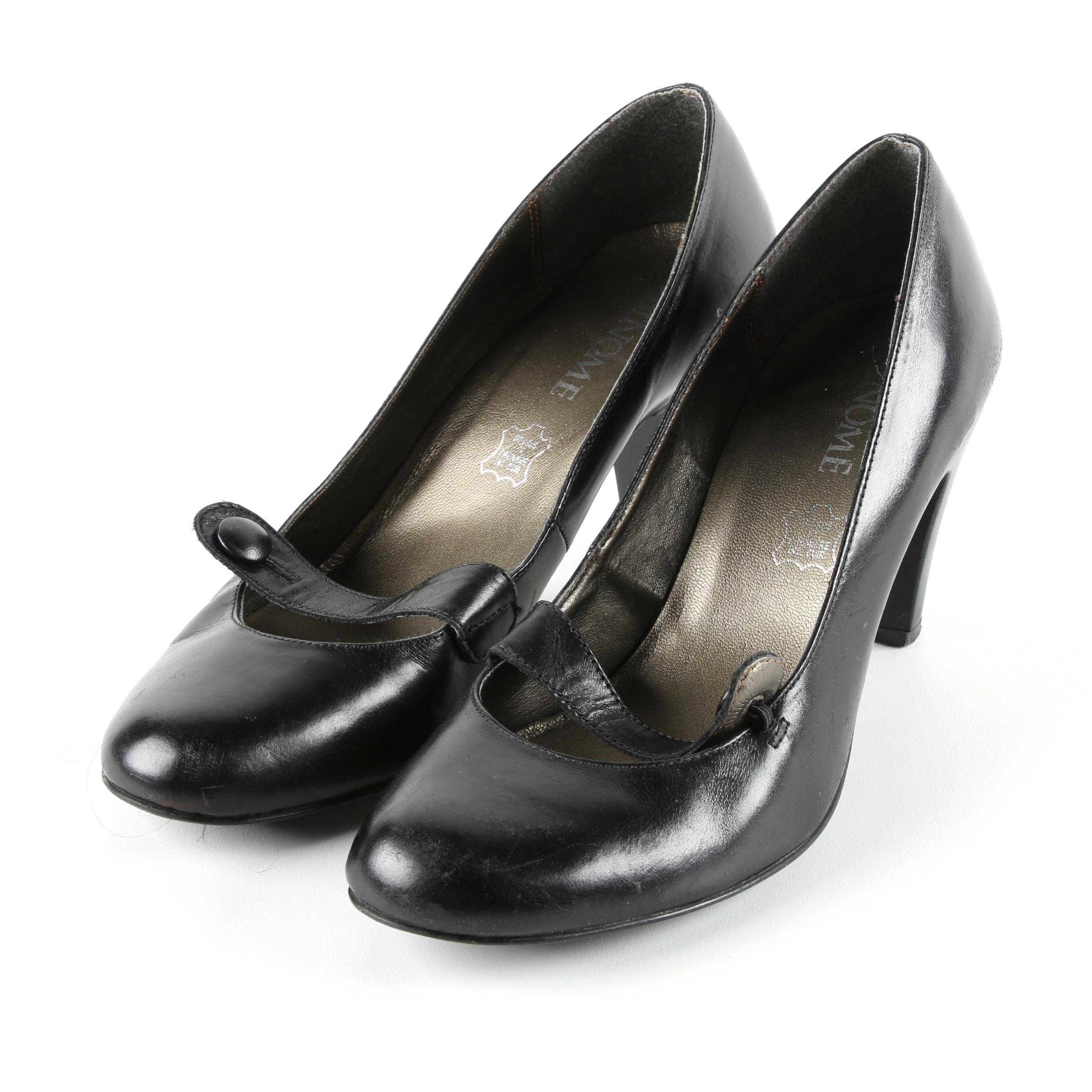 Binome Black Leather High Heels Pumps