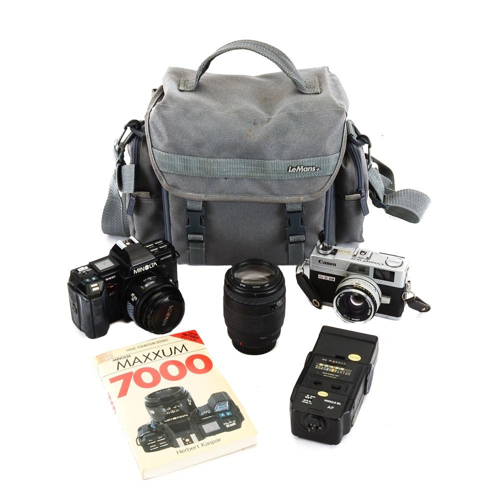Canon and Minolta Cameras with Accessories