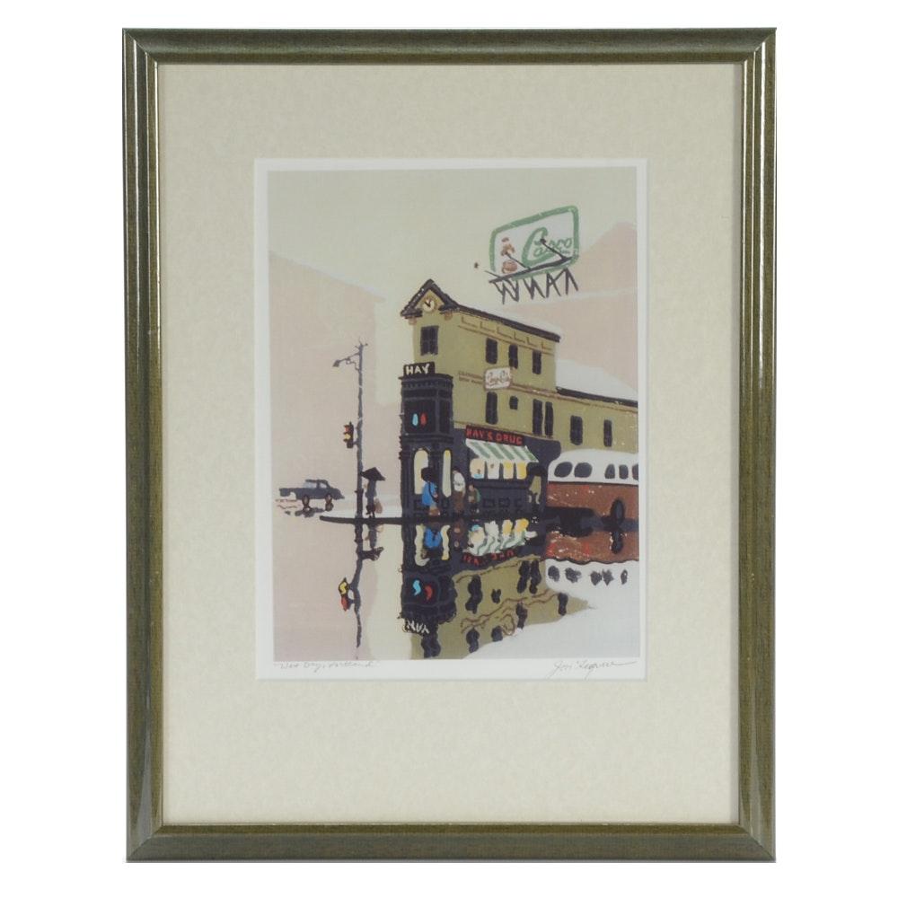 "Jon Legere Offset Lithograph Print ""Wet Day, Portland"""