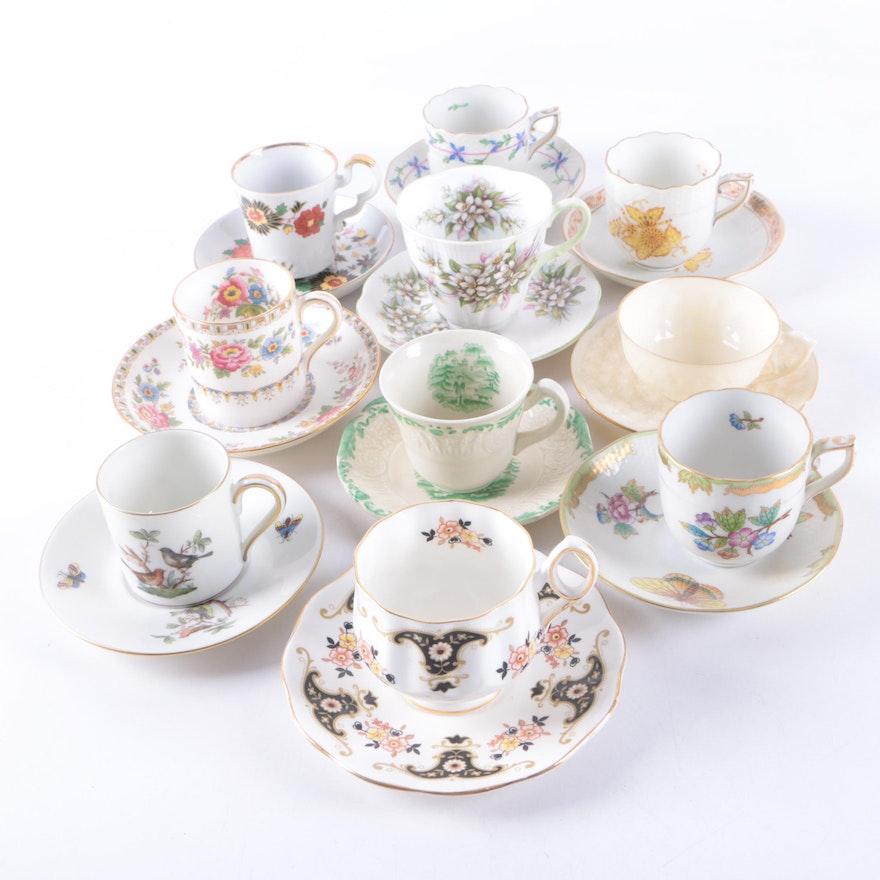 Herend Porcelain Teacup And Saucer Sets Including Antique Rothschild