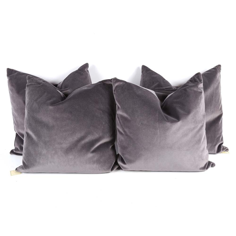 Smoke Grey Cotton Velvet Throw Pillows