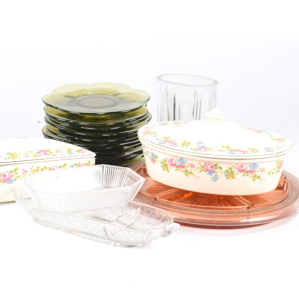Depression Glass with Assorted Glass and Ceramic Dinnerware