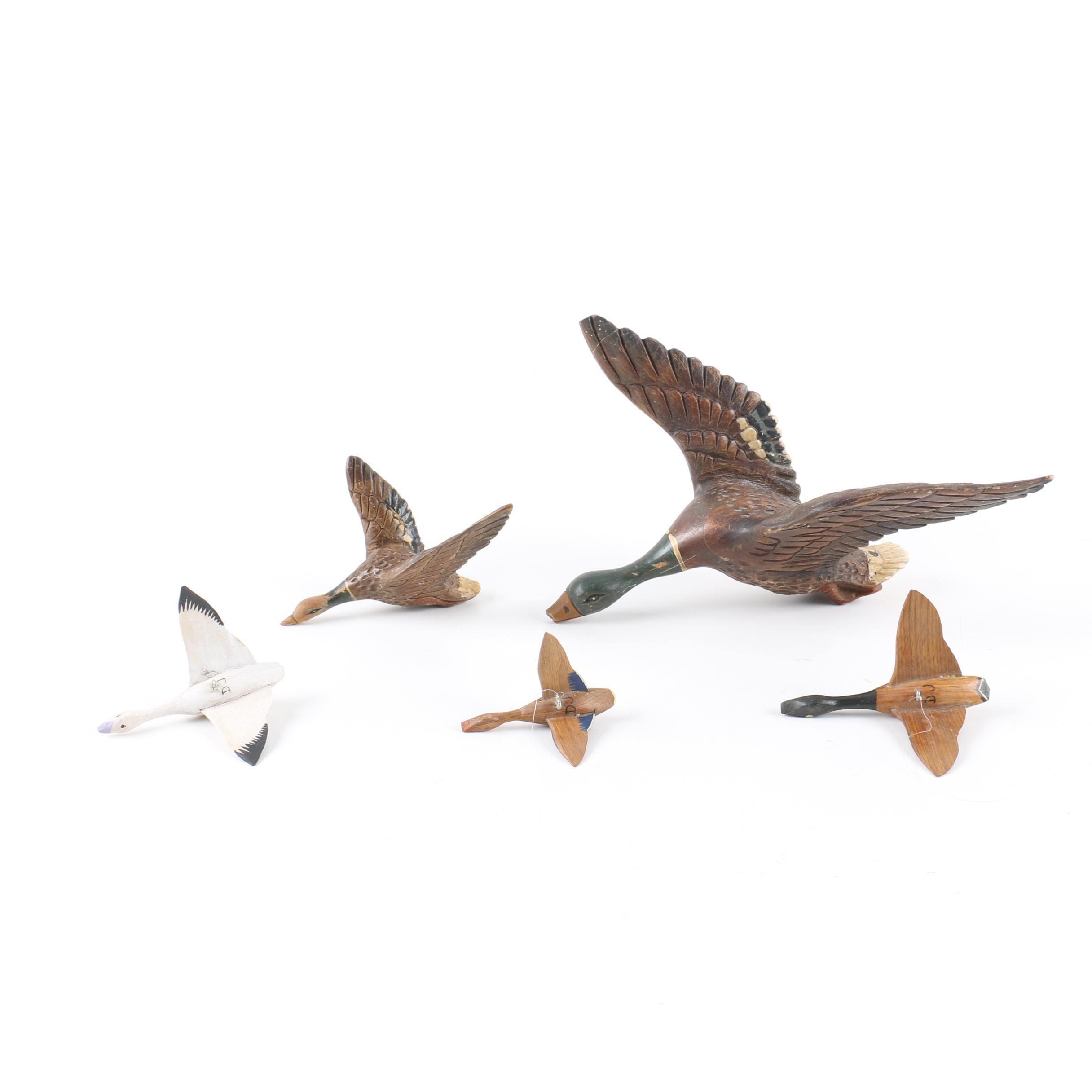 Wooden Duck and Bird Figurines