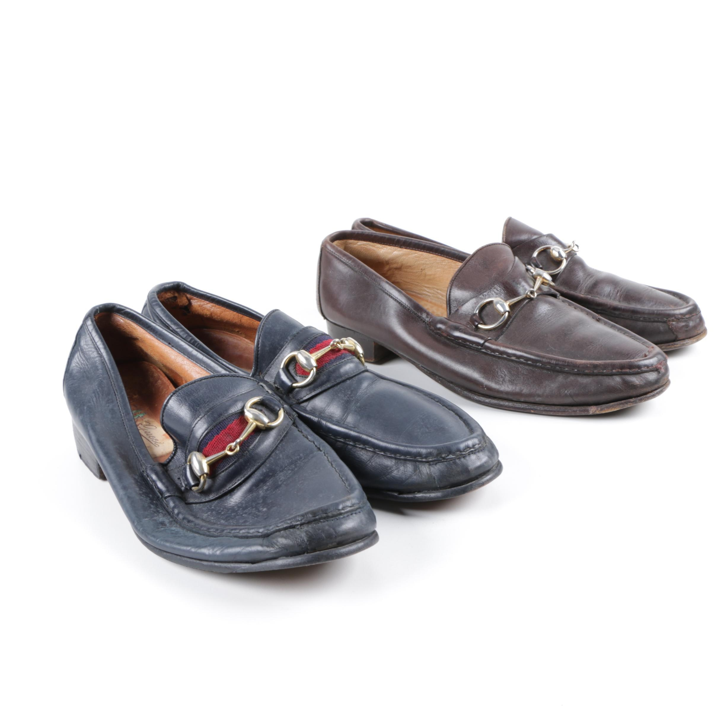 Men's Gucci Brown and Navy Leather Loafers