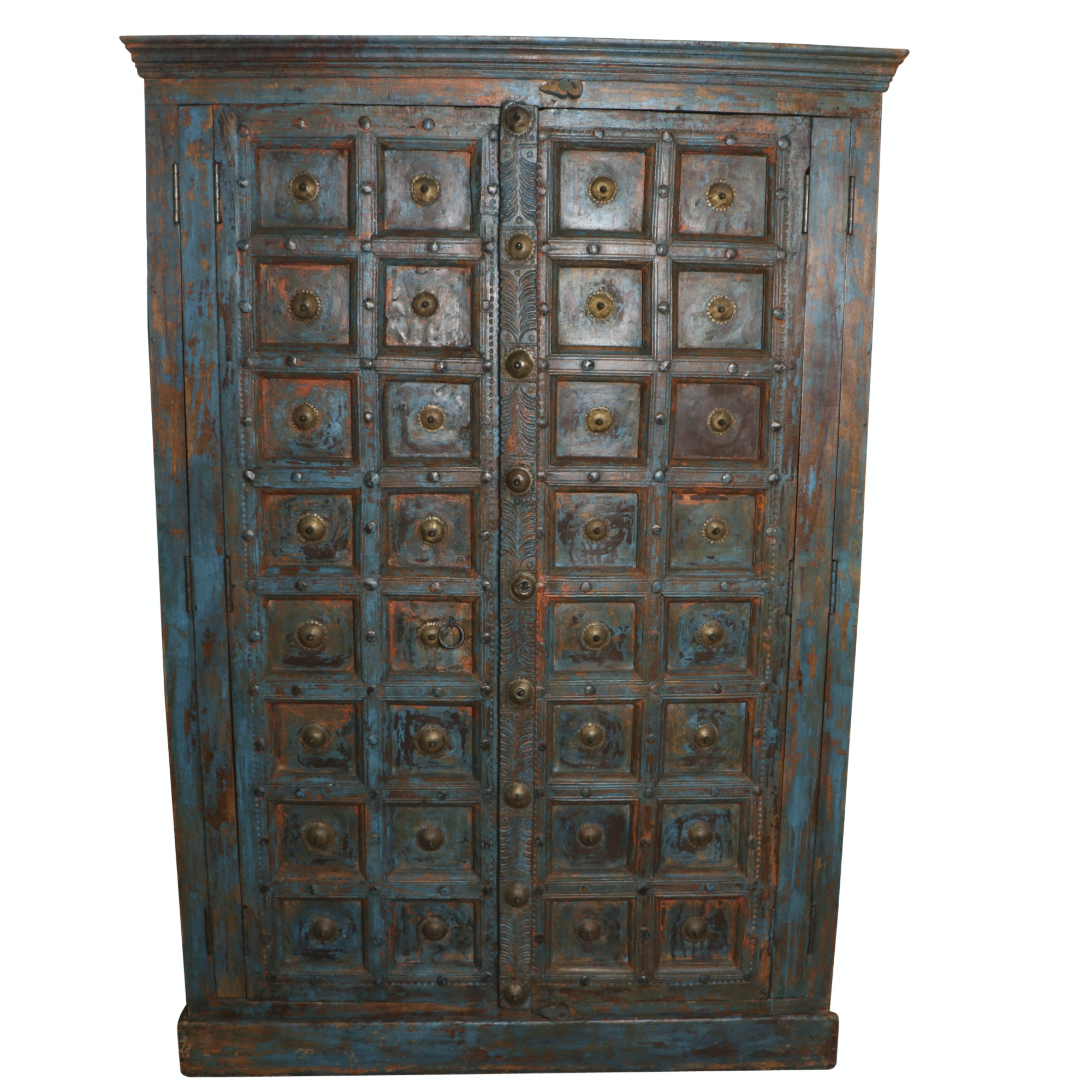 Rustic Asian Style Polychrome Wardrobe Cabinet