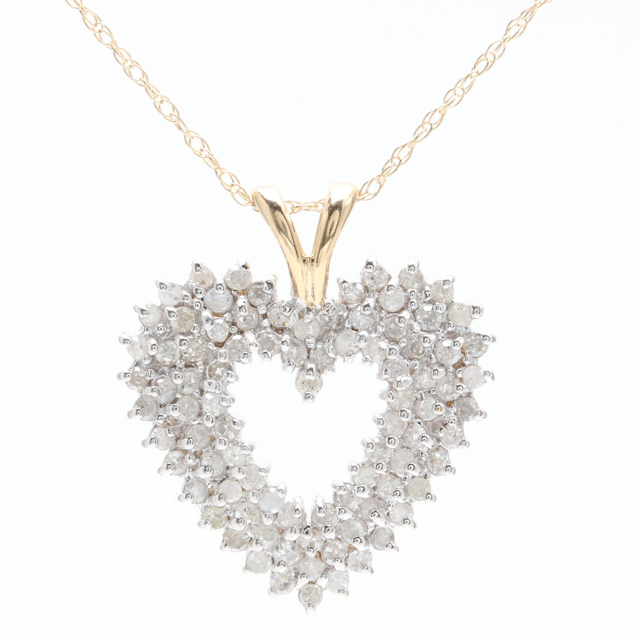 10K Yellow Gold 1.23 CTW Diamond Heart Pendant Necklace