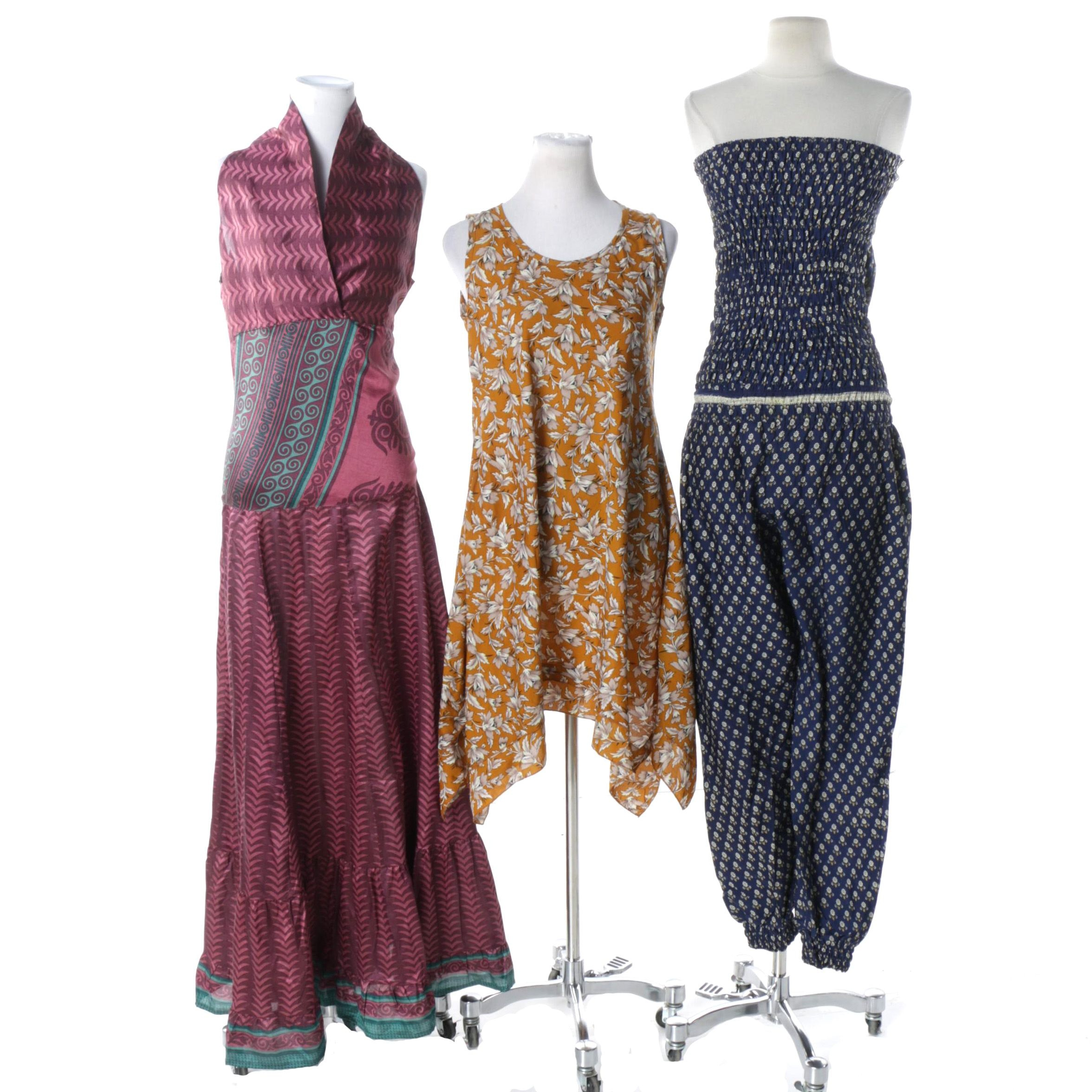 Aller Simplement One of a Kind Vintage Sari Maxi Dress, Tunic and Jumpsuit