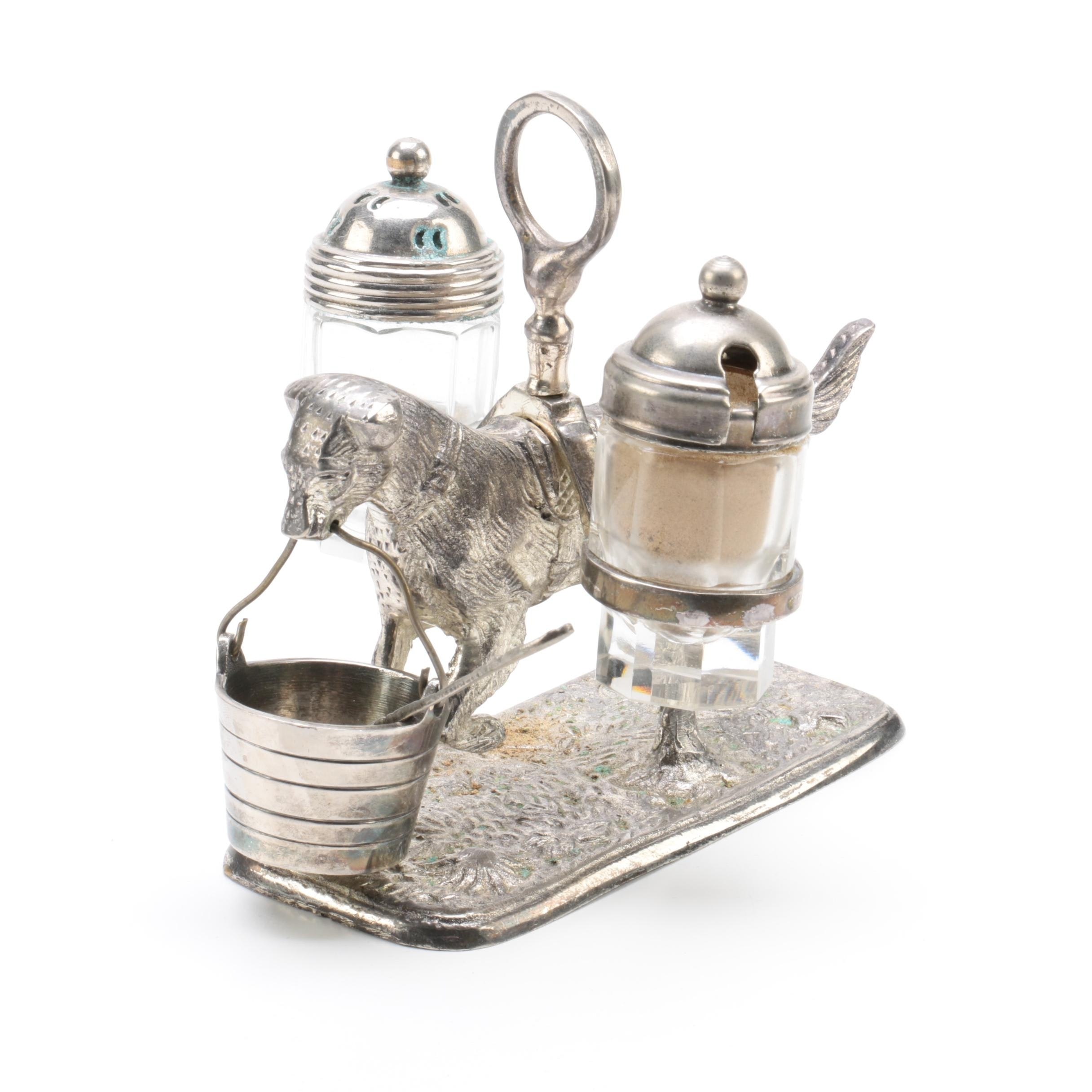 Vintage Dog and Pail Themed Silver Plate and Glass Condiment Stand