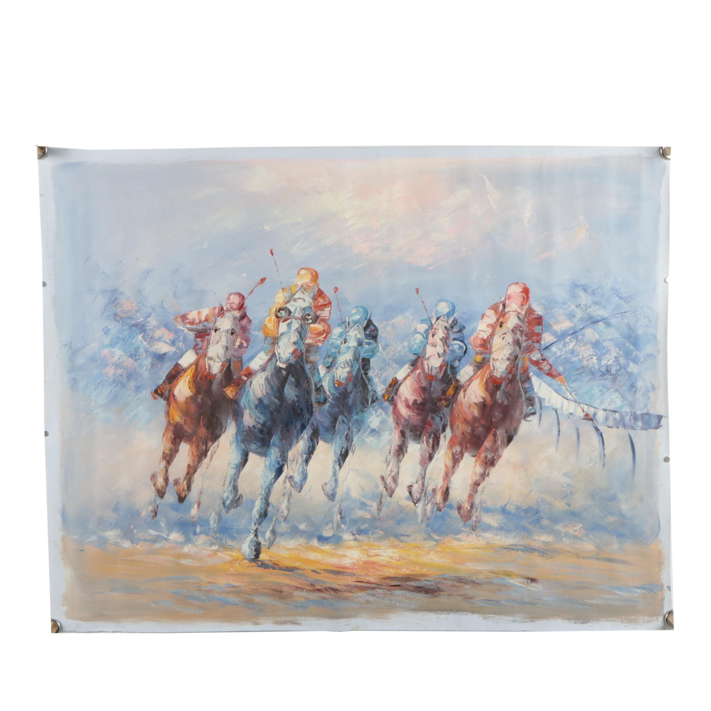 Oil on Canvas Painting of a Horse Race in the style of A. Vecchio