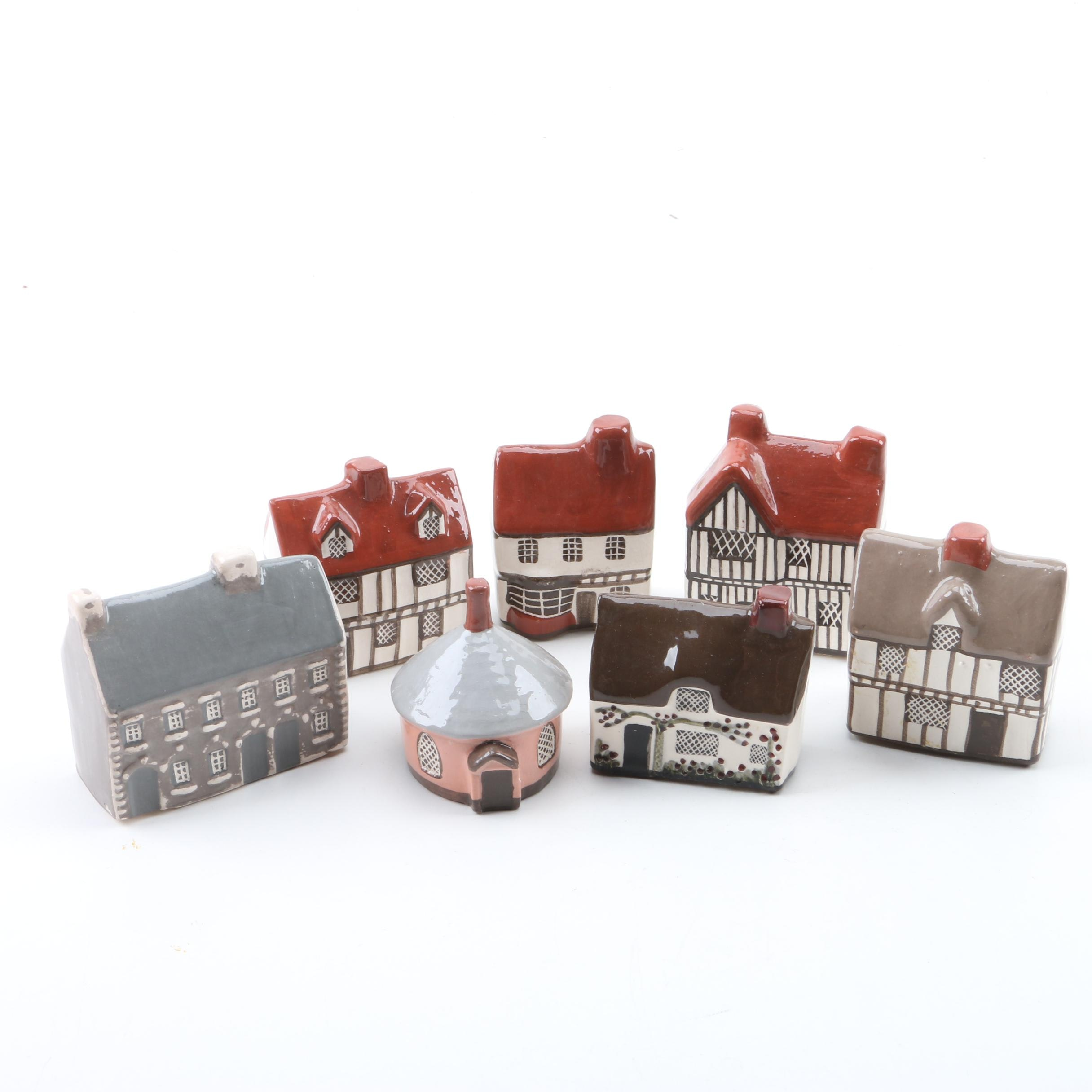 Hand Painted Ceramic English Building Figures